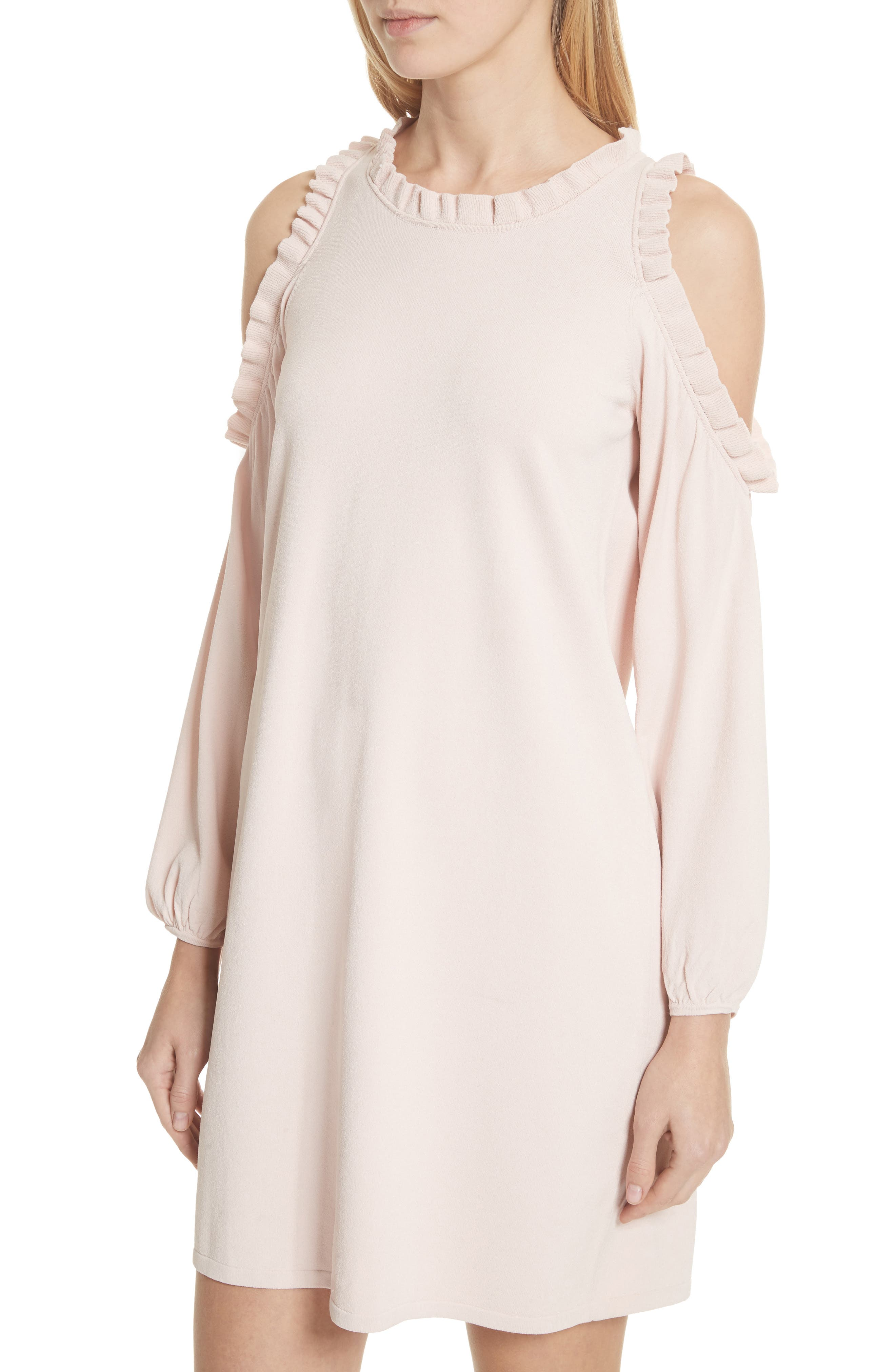 MILLY,                             Ruffle Trim Cold Shoulder Minidress,                             Alternate thumbnail 4, color,                             653