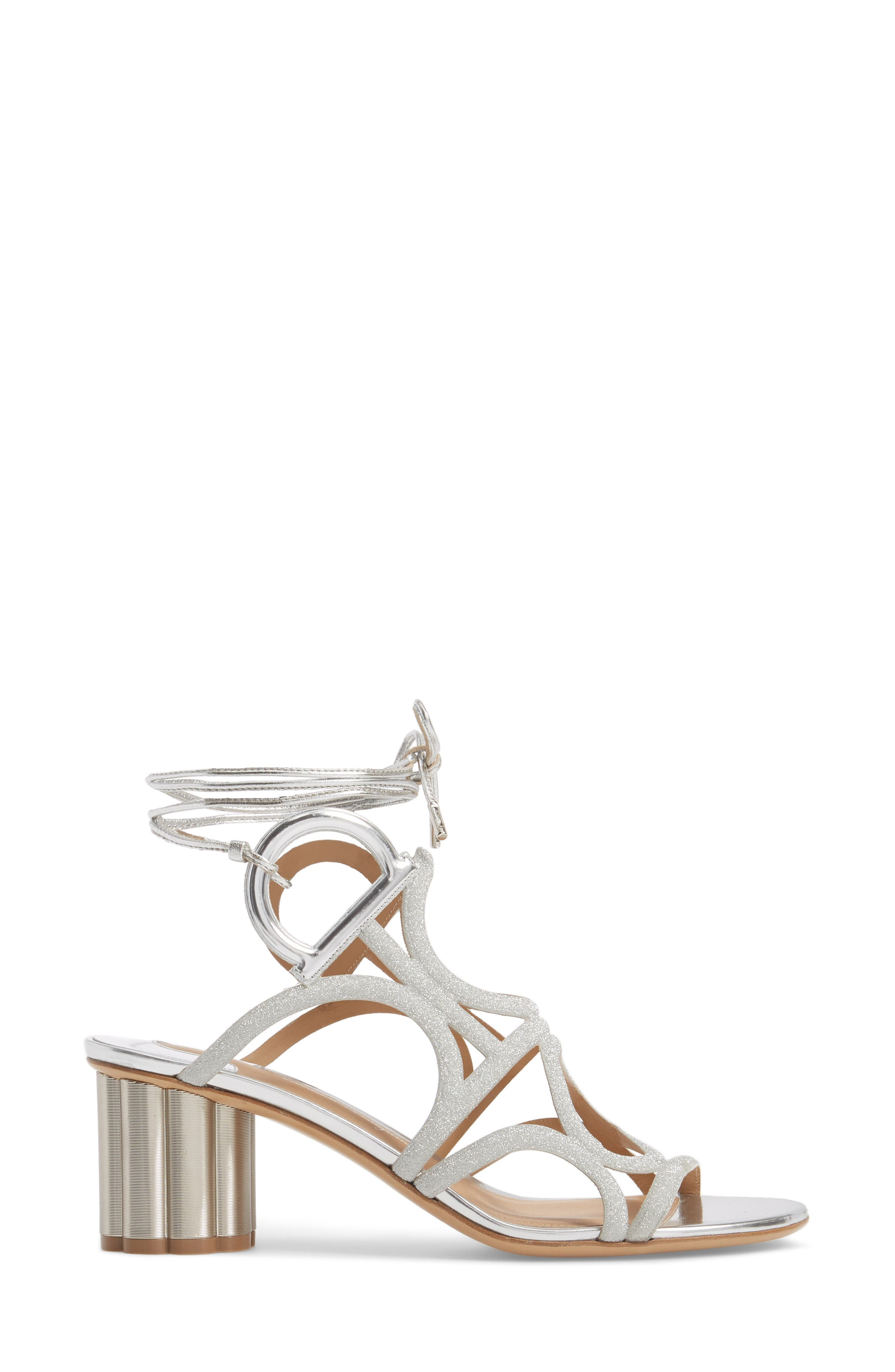 Vinci Lace-Up Block Heel Sandal,                             Alternate thumbnail 3, color,                             SILVER