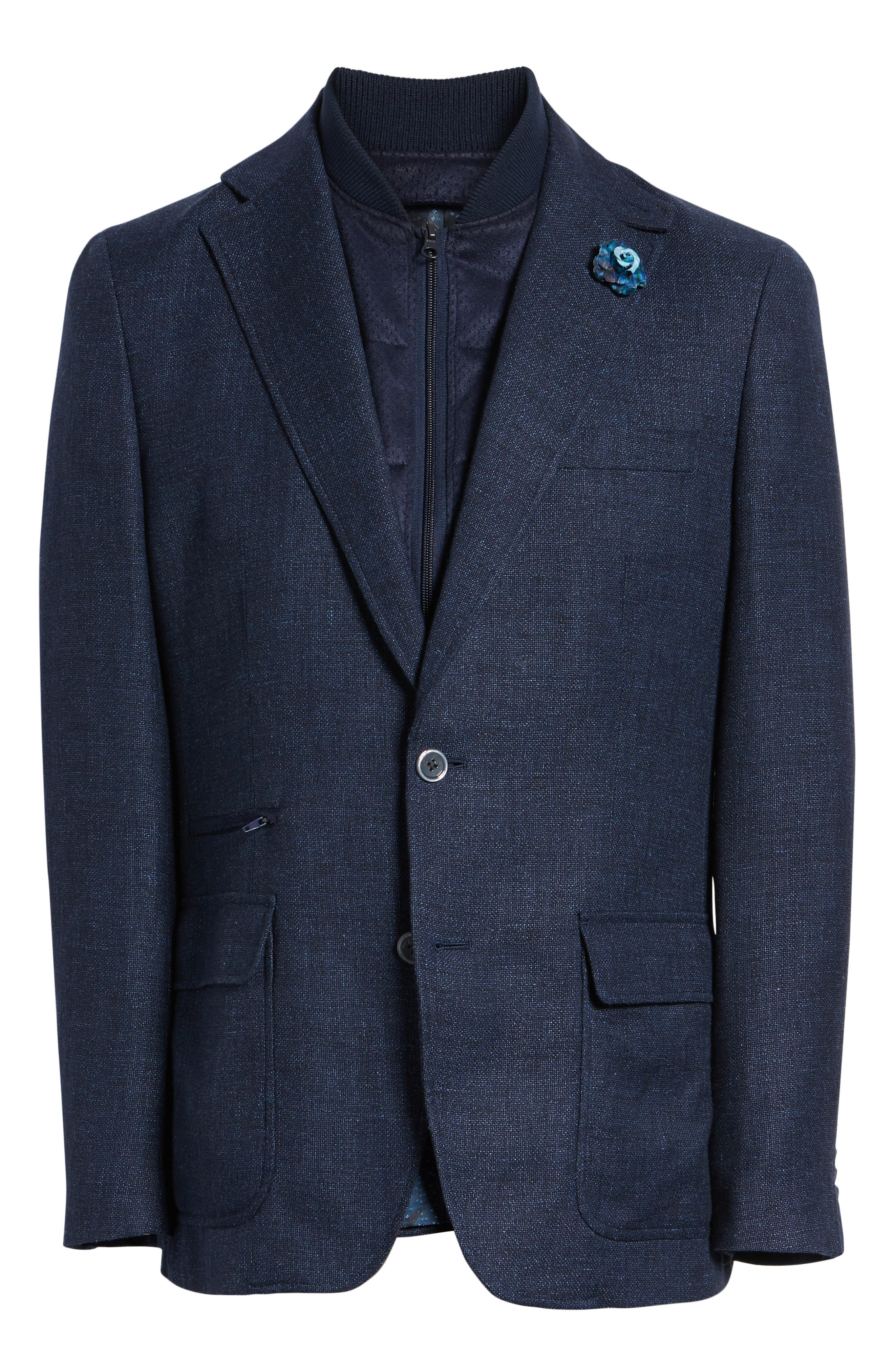 Downhill Tailored Wool Sport Coat,                             Alternate thumbnail 5, color,                             NAVY