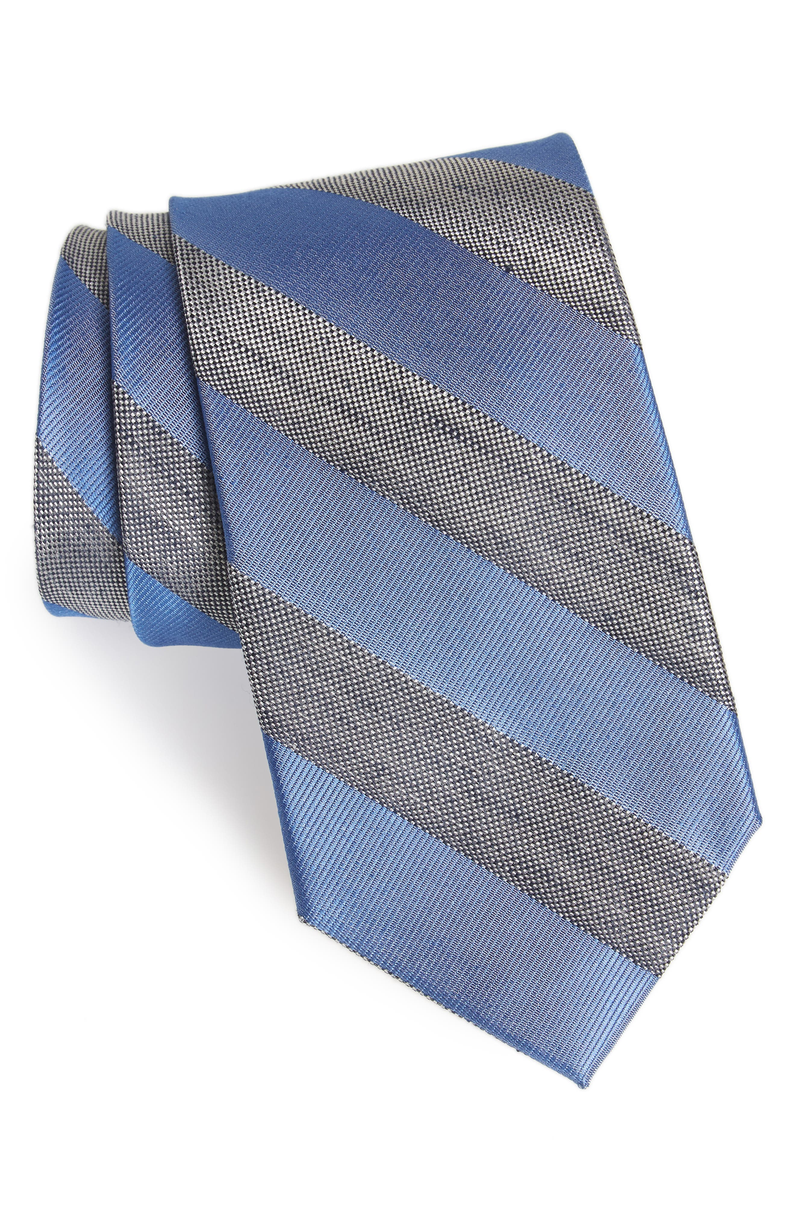 Bomer Stripe Silk & Linen Tie,                             Main thumbnail 1, color,                             400