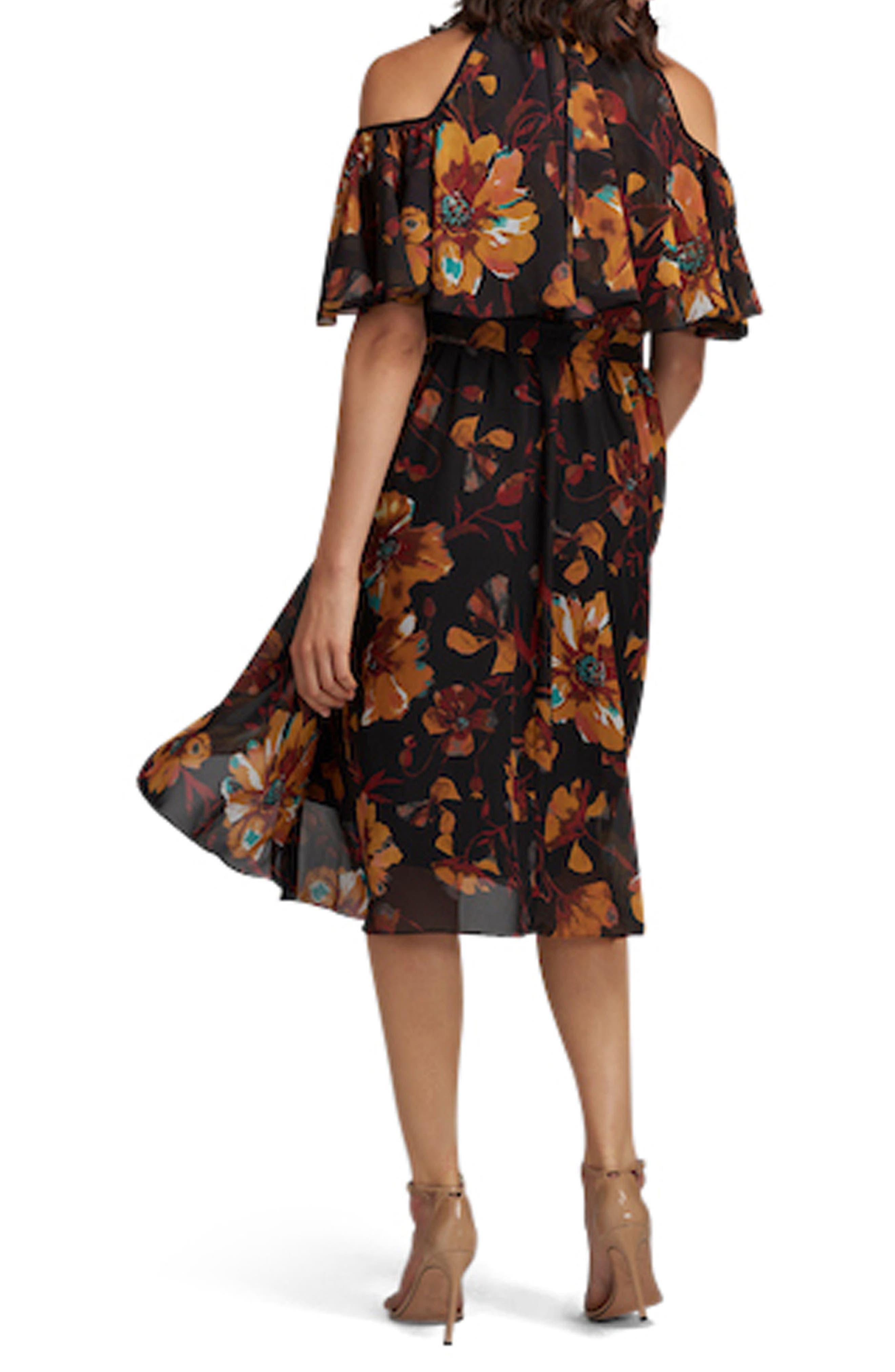 Floral Print Cold Shoulder Dress,                             Alternate thumbnail 2, color,                             701