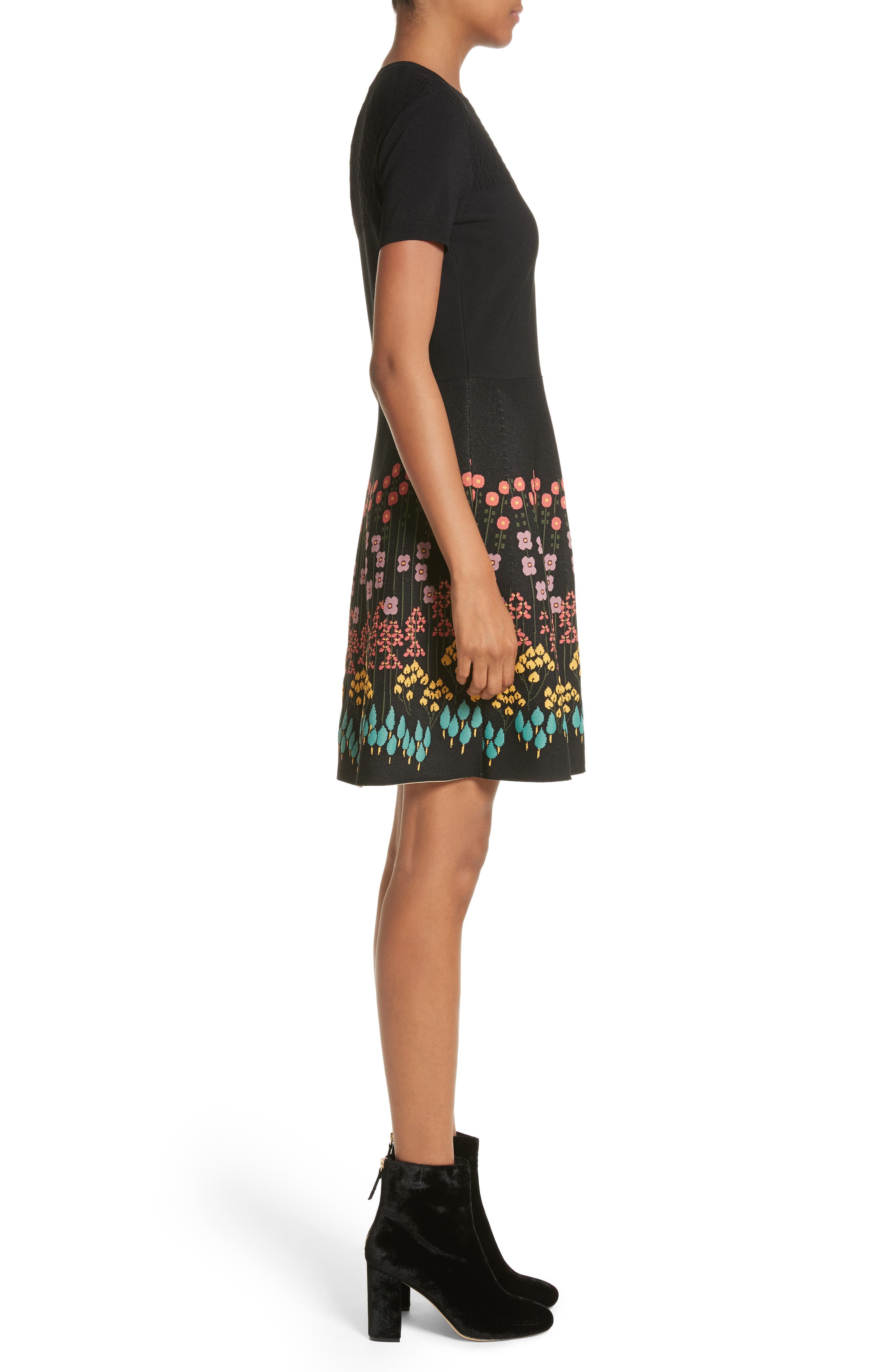 Floral Jacquard Knit Dress,                             Alternate thumbnail 3, color,                             001