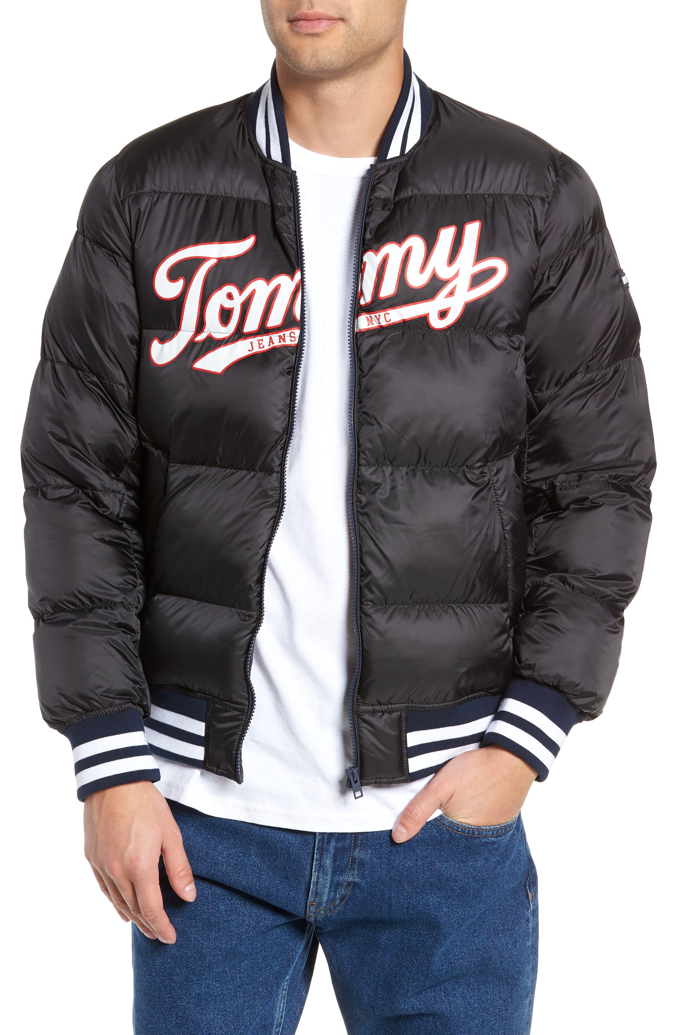Varsity Jacket,                         Main,                         color, TOMMY BLACK