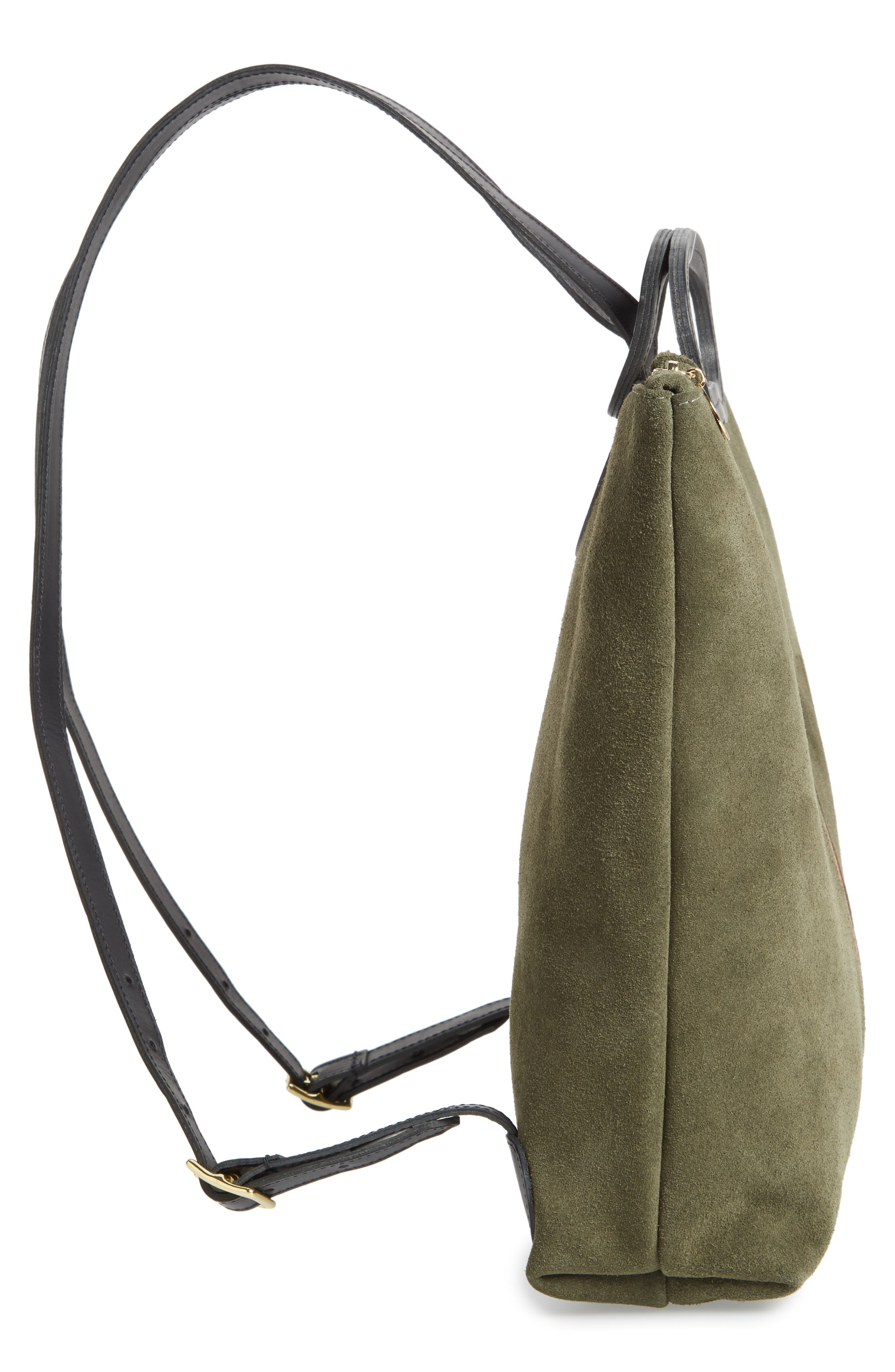 Marcelle Suede Backpack,                             Alternate thumbnail 5, color,                             ARMY SUEDE STRIPE