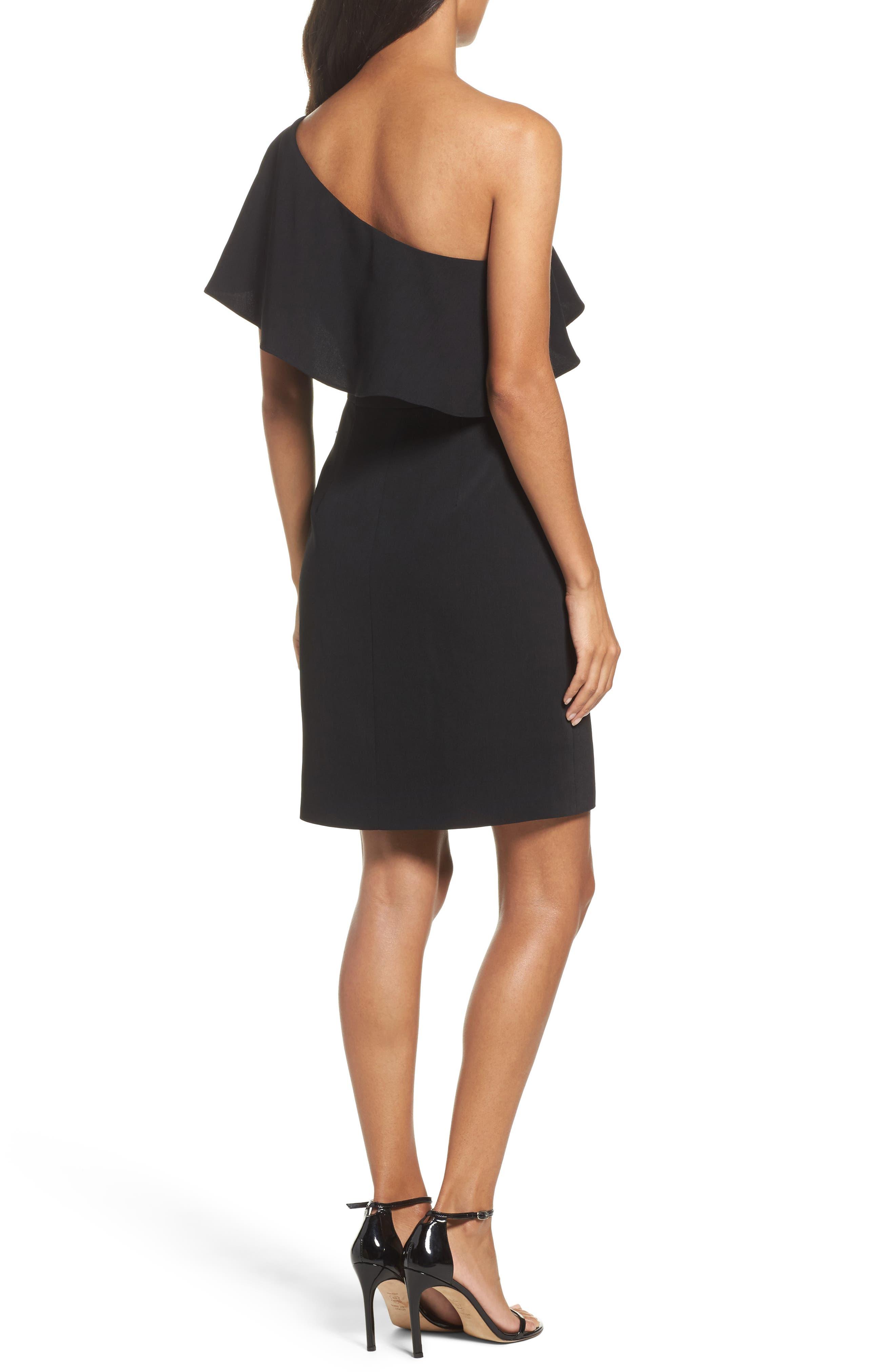 Cale One-Shoulder Crepe Sheath Dress,                             Alternate thumbnail 2, color,                             001