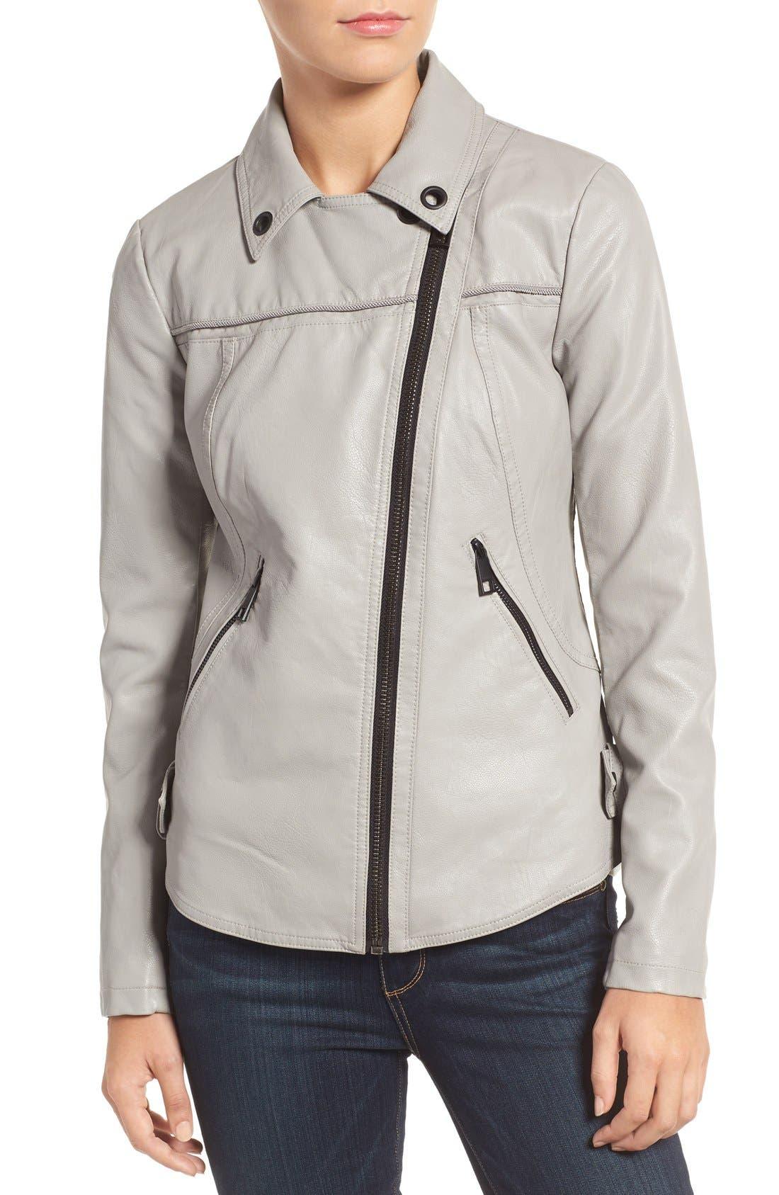 Faux Leather Moto Jacket,                             Alternate thumbnail 13, color,