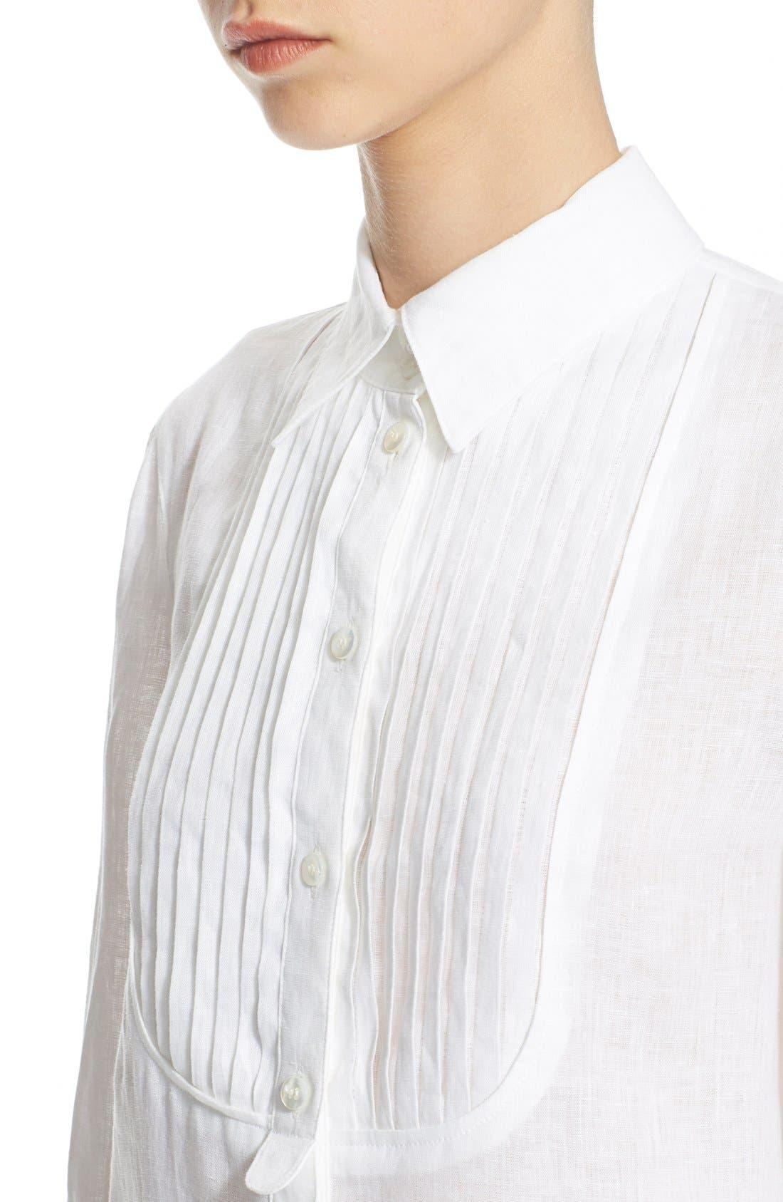 ARMANI COLLEZIONI,                             Linen Tuxedo Shirt,                             Alternate thumbnail 2, color,                             100