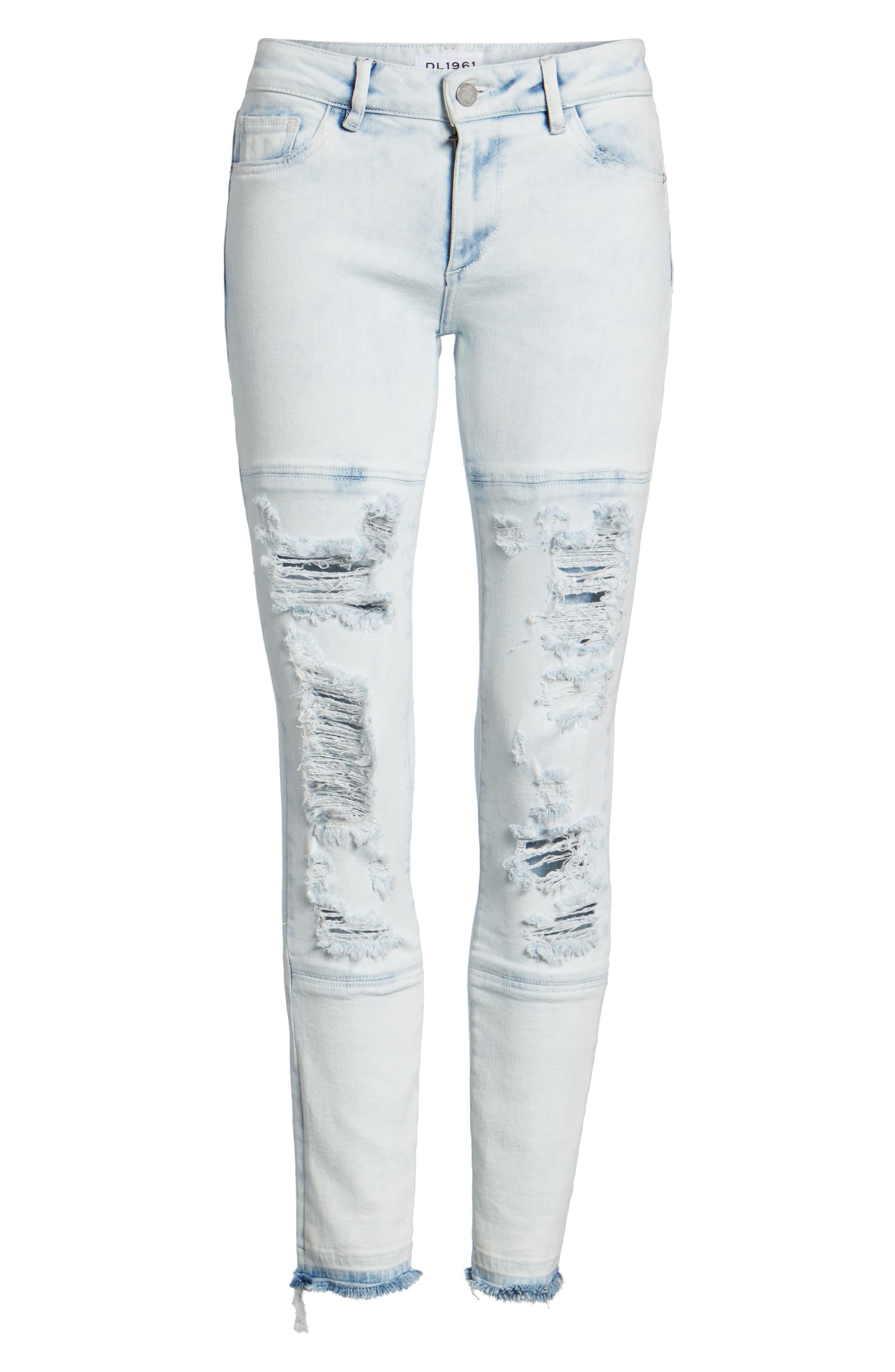 Emma Power Legging Ripped Skinny Jeans,                             Alternate thumbnail 7, color,                             020
