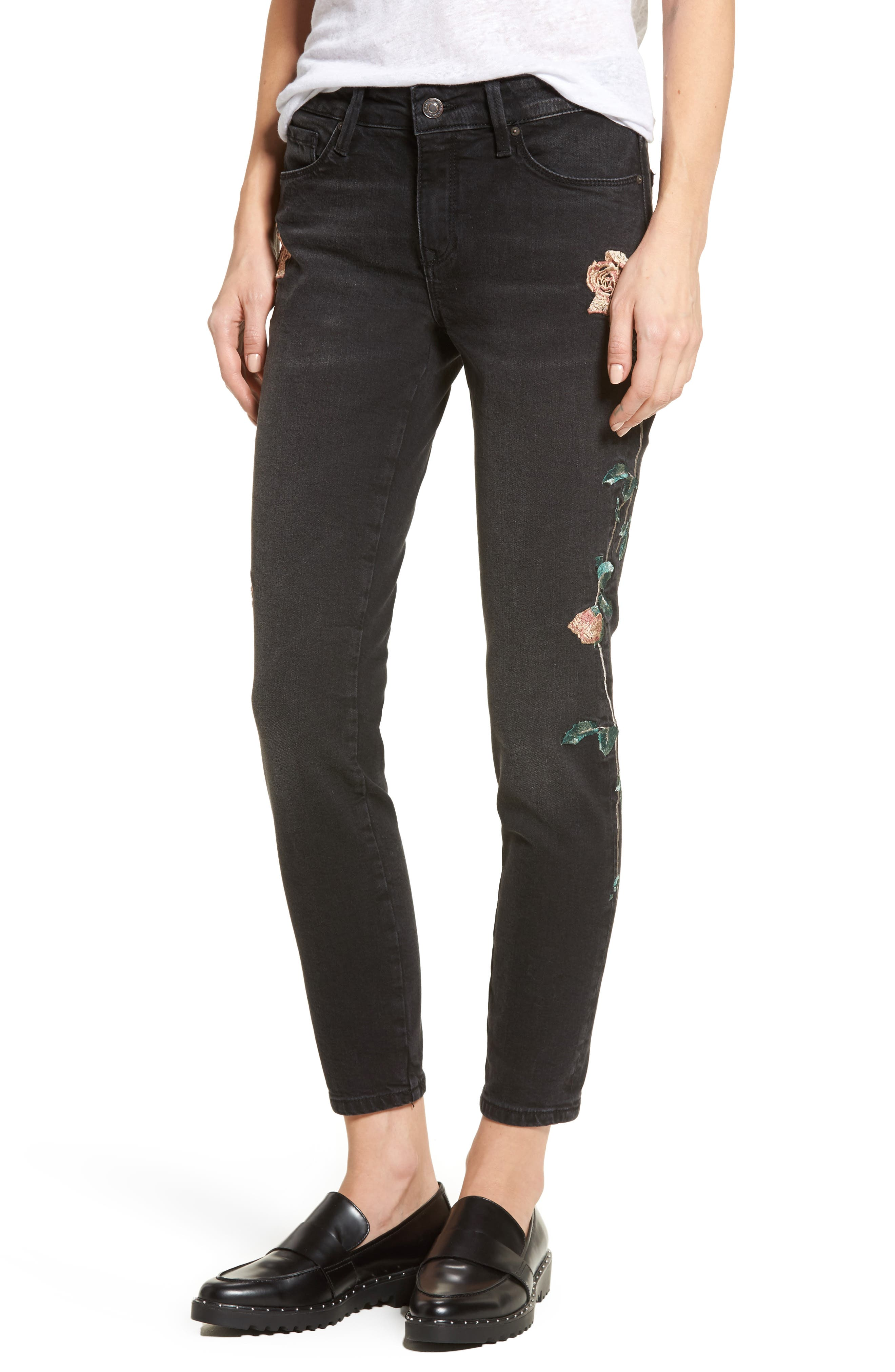 Adriana Embroidered Skinny Jeans,                             Main thumbnail 1, color,                             002