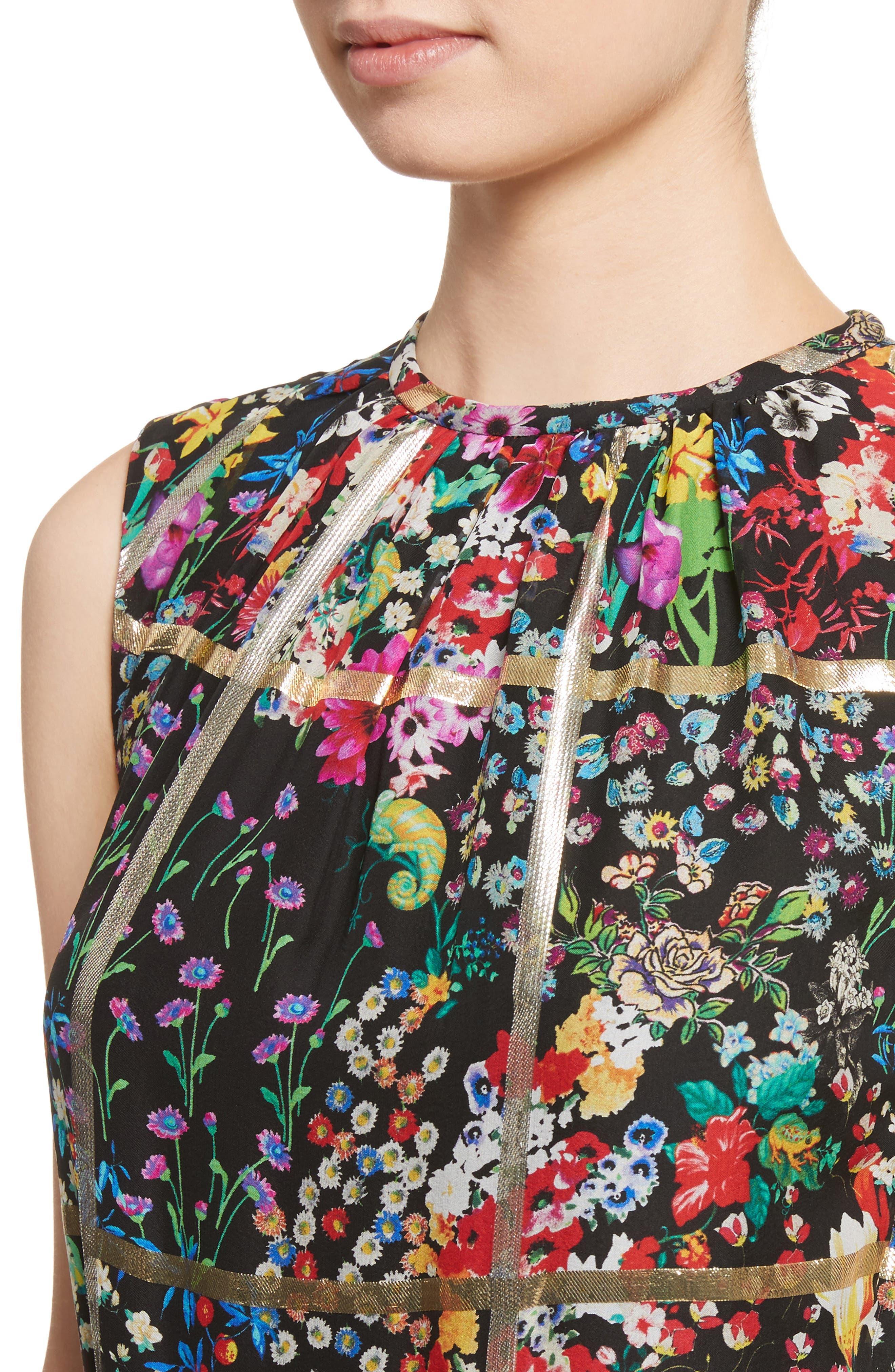 Metallic Grid Floral Print Silk Dress,                             Alternate thumbnail 4, color,                             001
