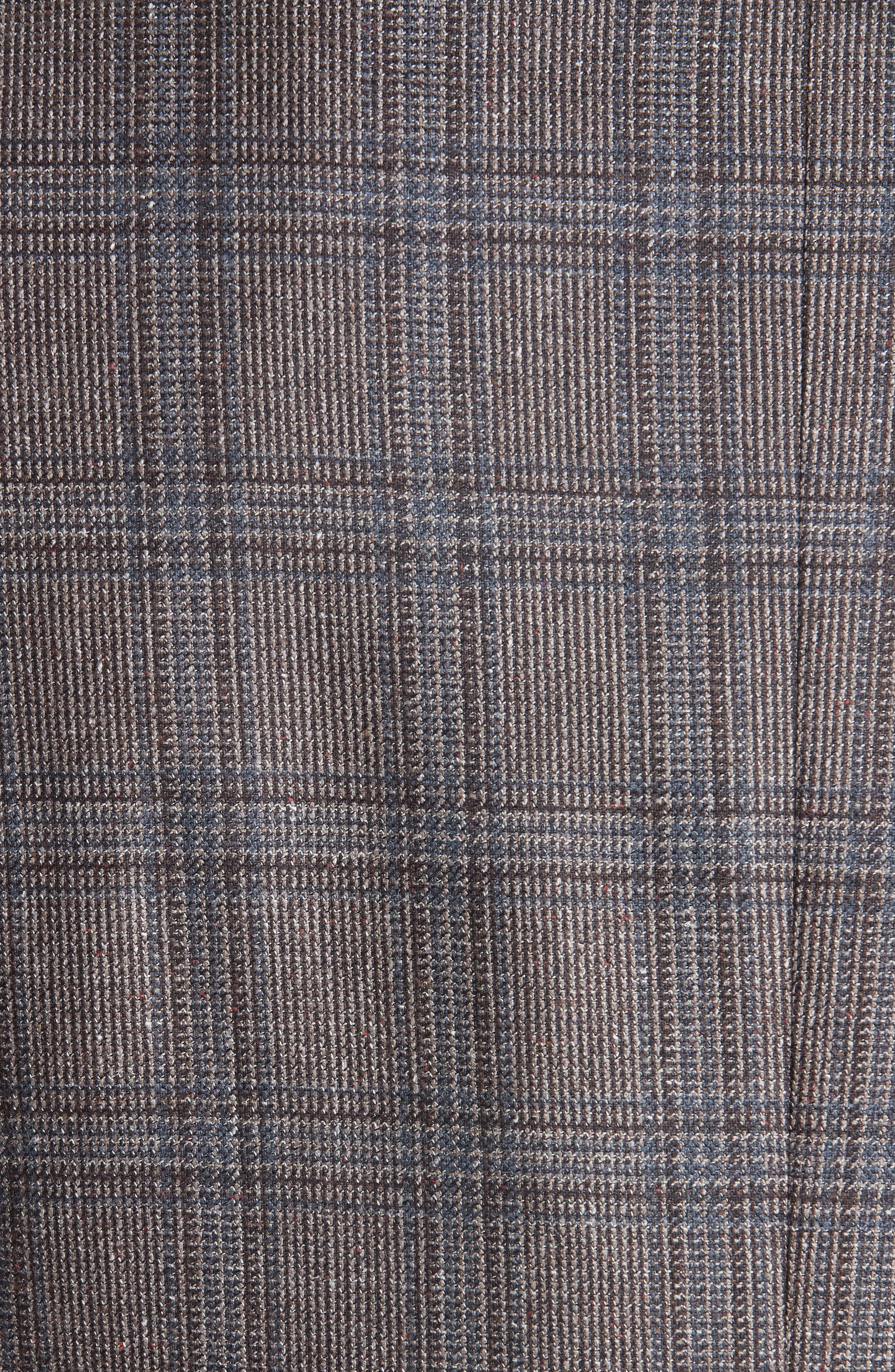 Classic Fit Plaid Silk & Wool Sport Coat,                             Alternate thumbnail 6, color,                             MED BROWN
