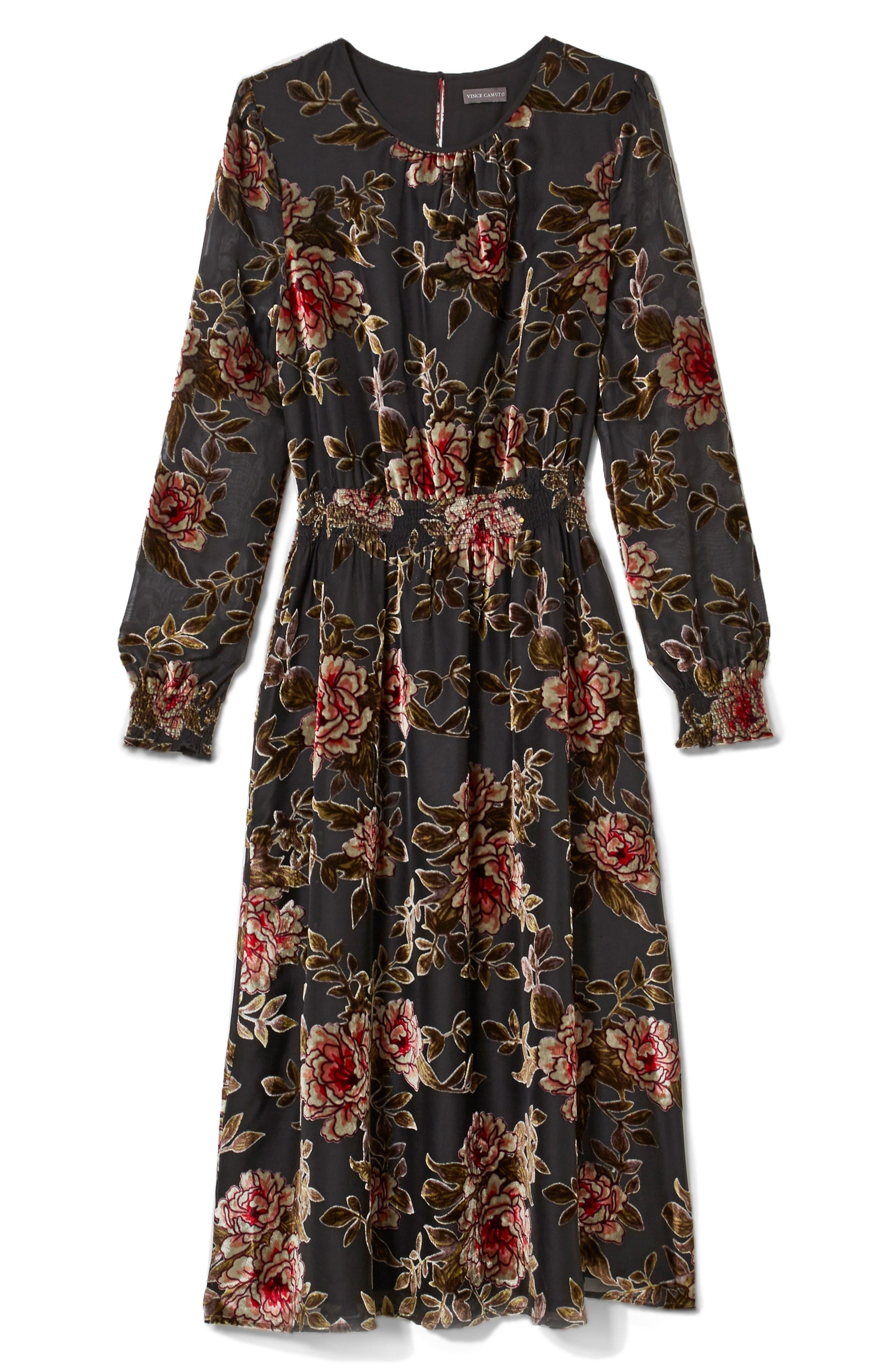 Velvet Burnout Dress,                             Alternate thumbnail 3, color,                             RICH BLACK