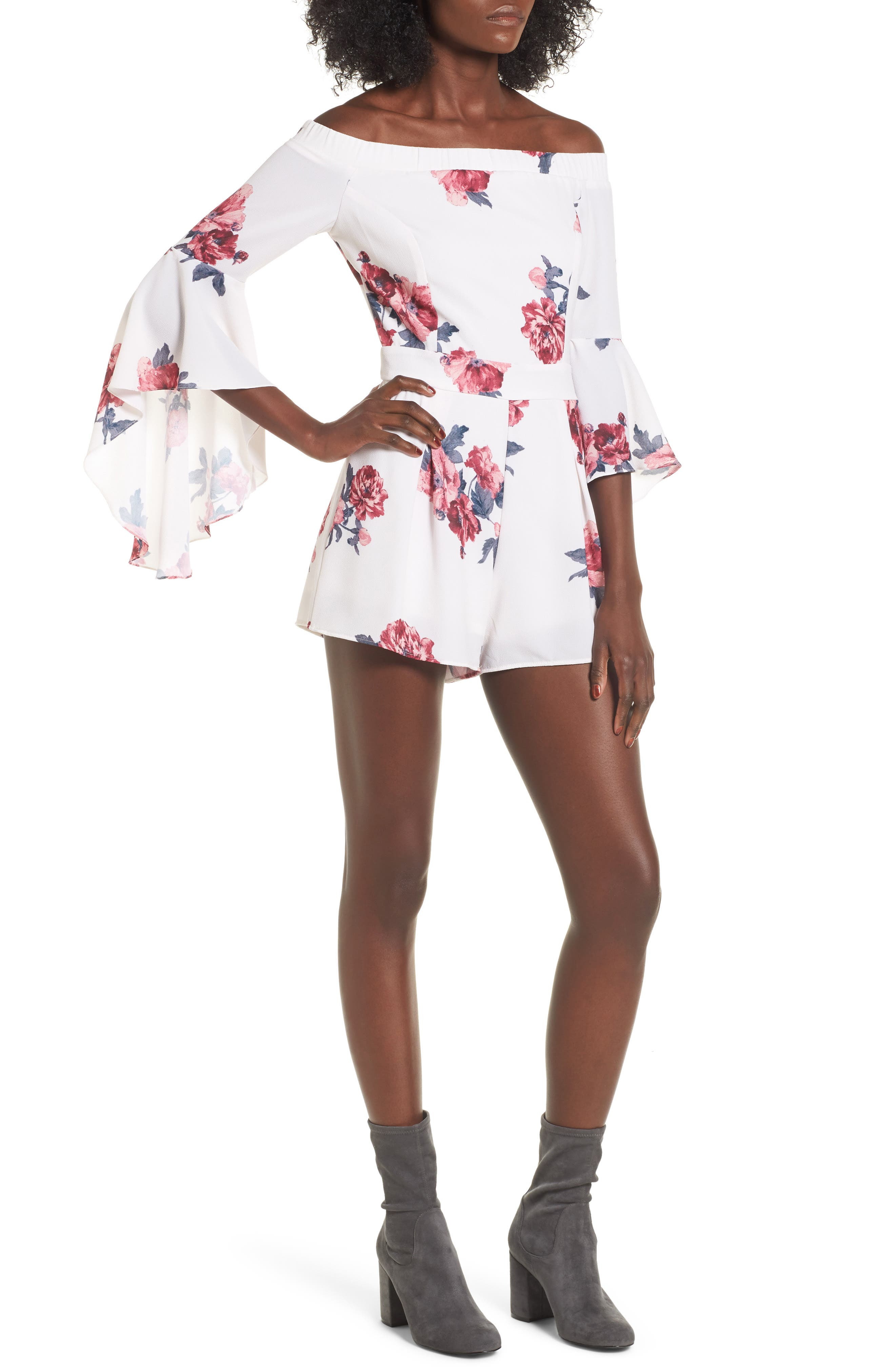 Off the Shoulder Bell Sleeve Romper,                             Main thumbnail 2, color,