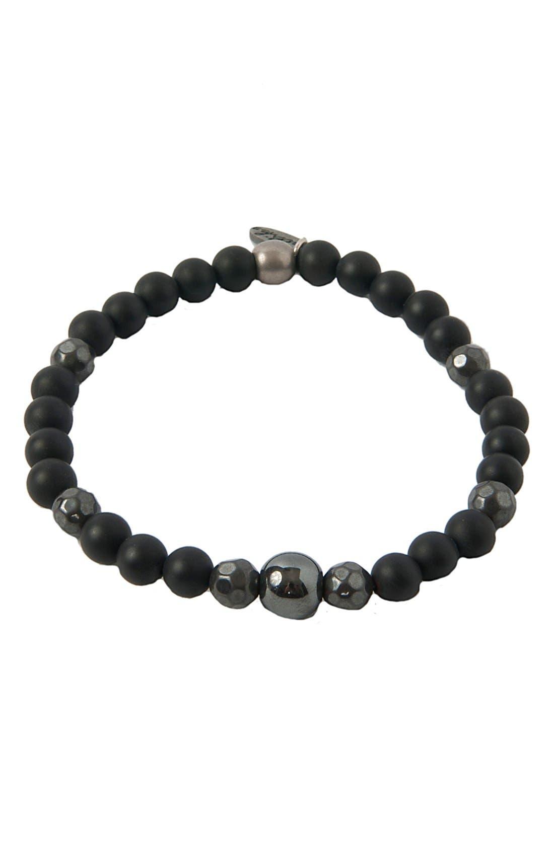 Onyx, Hematite & Silver Bracelet,                         Main,                         color, BLACK