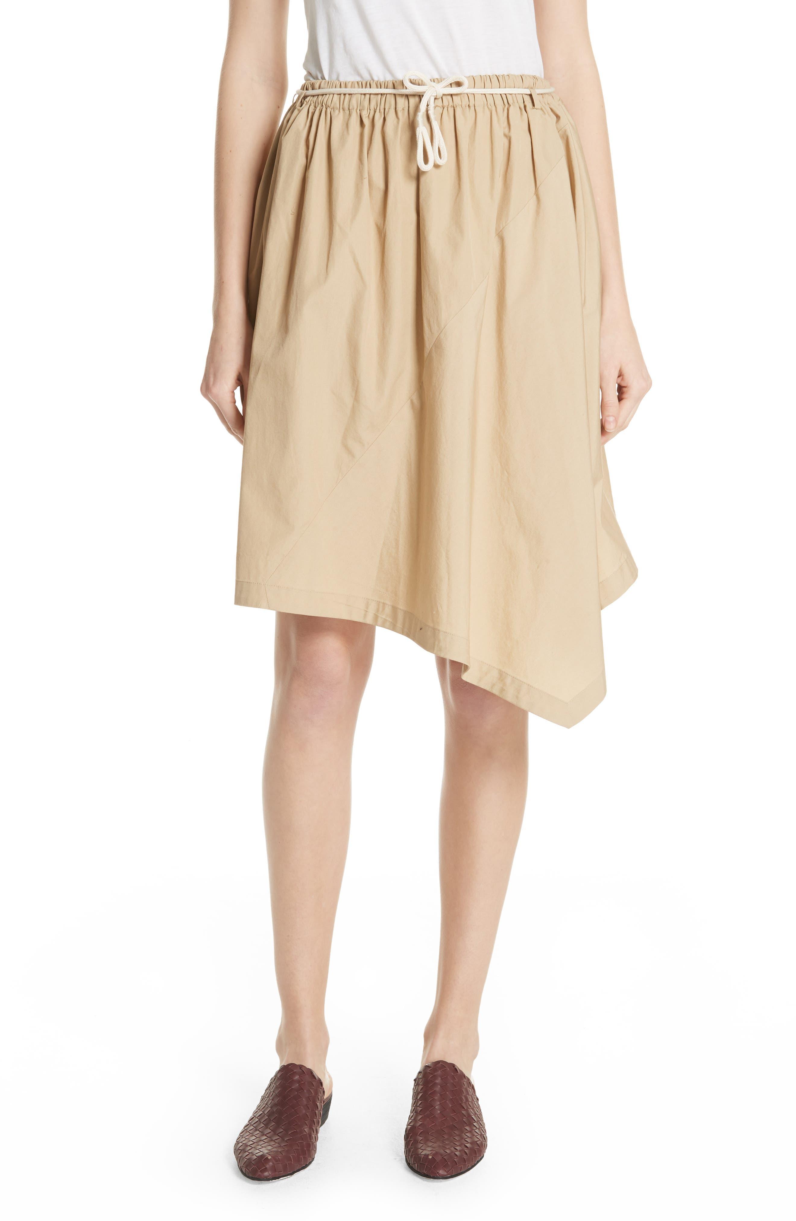 Asymmetrical Drawstring Cotton Skirt,                         Main,                         color, KHAKI