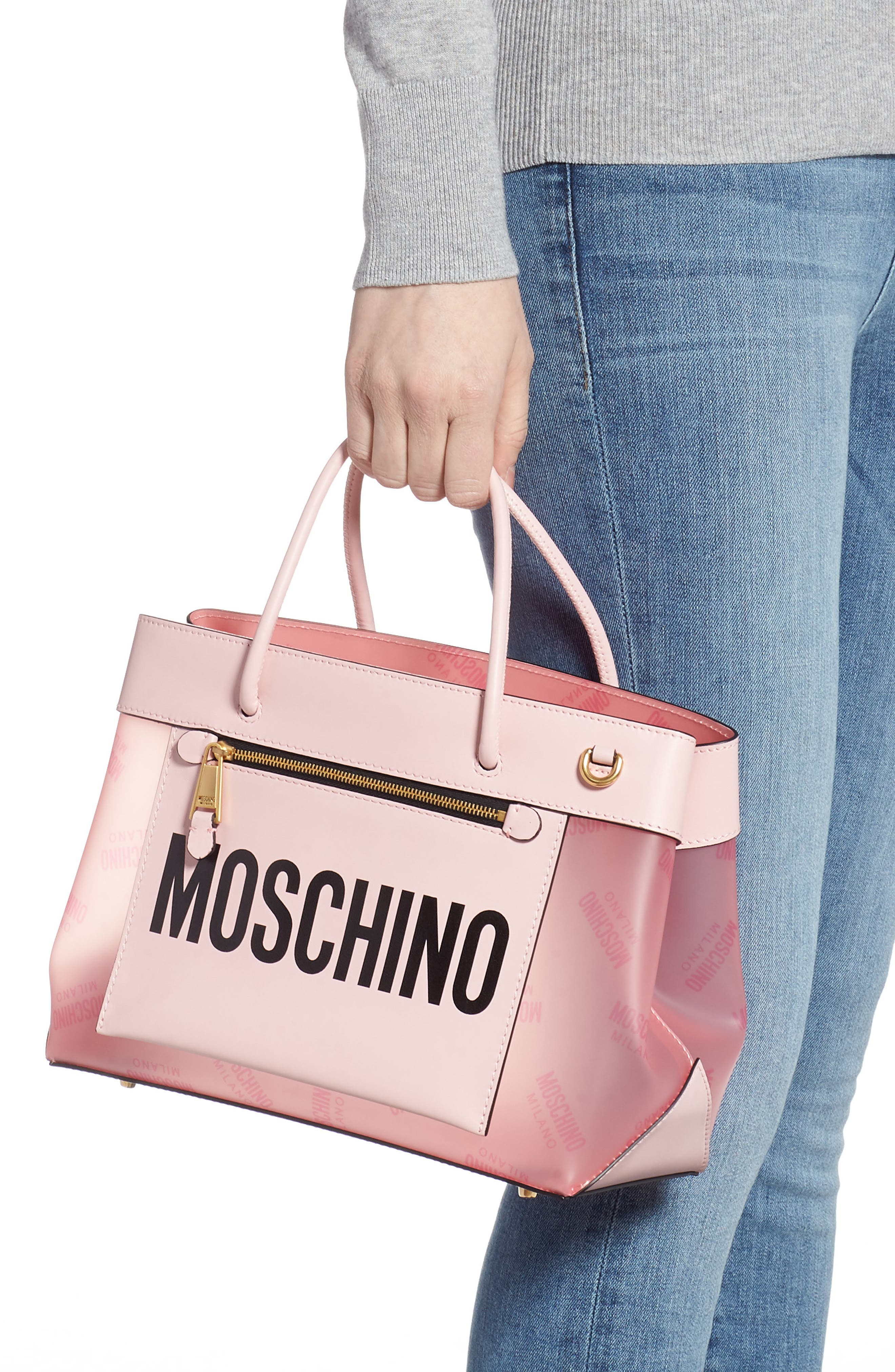 MOSCHINO,                             Translucent Logo Tote,                             Alternate thumbnail 2, color,                             PINK