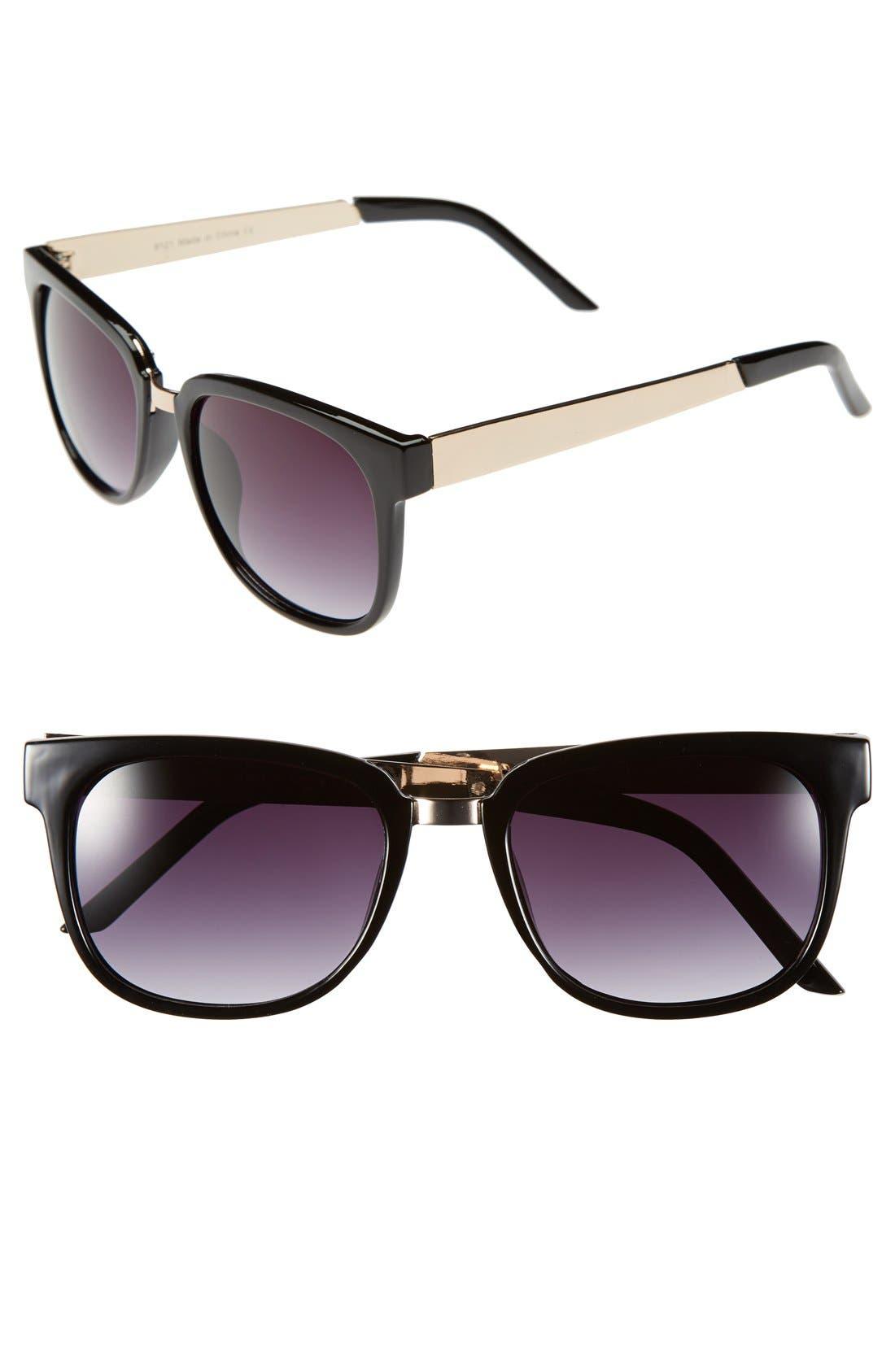 'Annie' Metal Detail Sunglasses,                         Main,                         color, 001