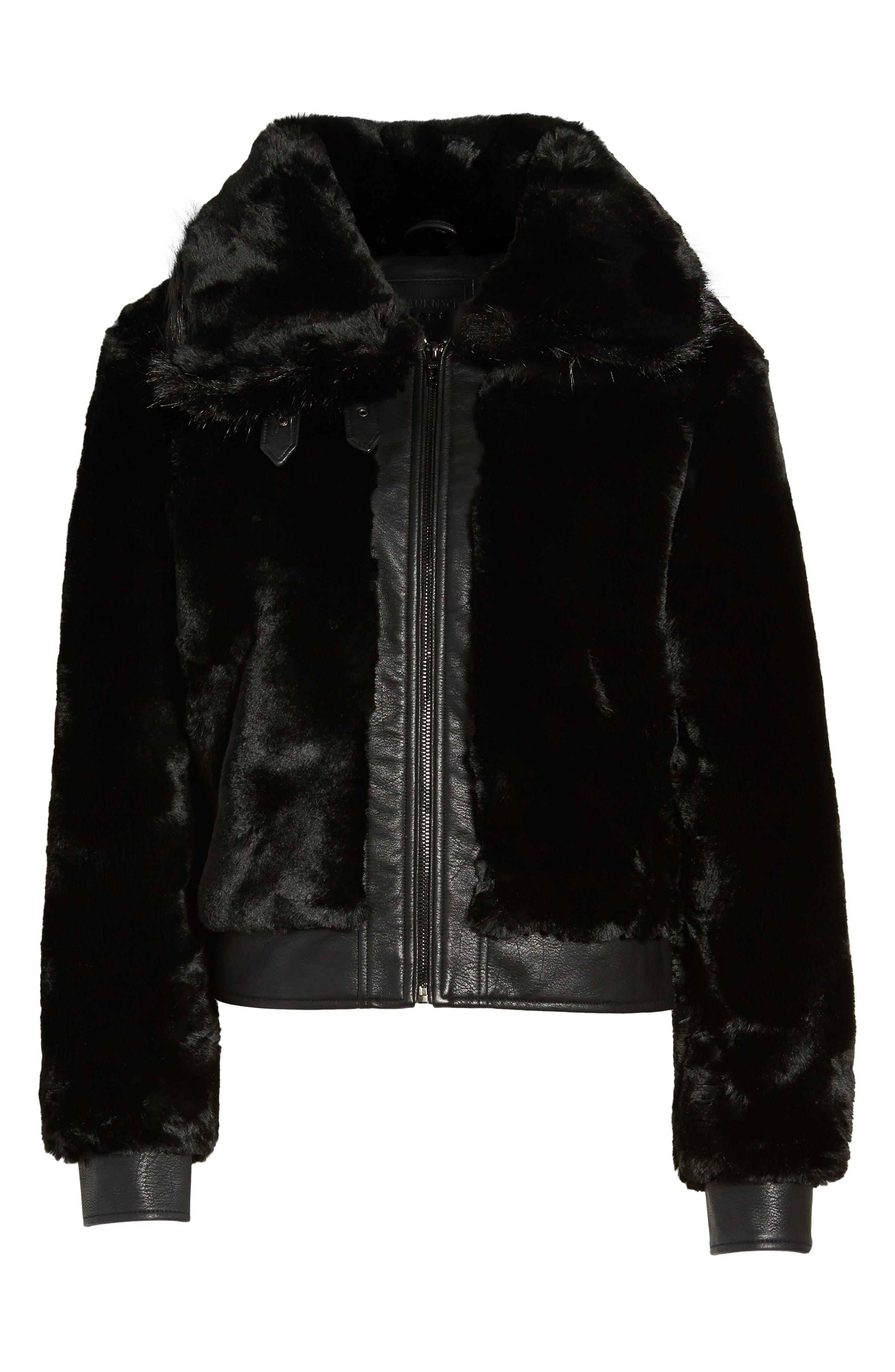 Faux Fur Jacket,                             Alternate thumbnail 6, color,                             BLACK NOISE