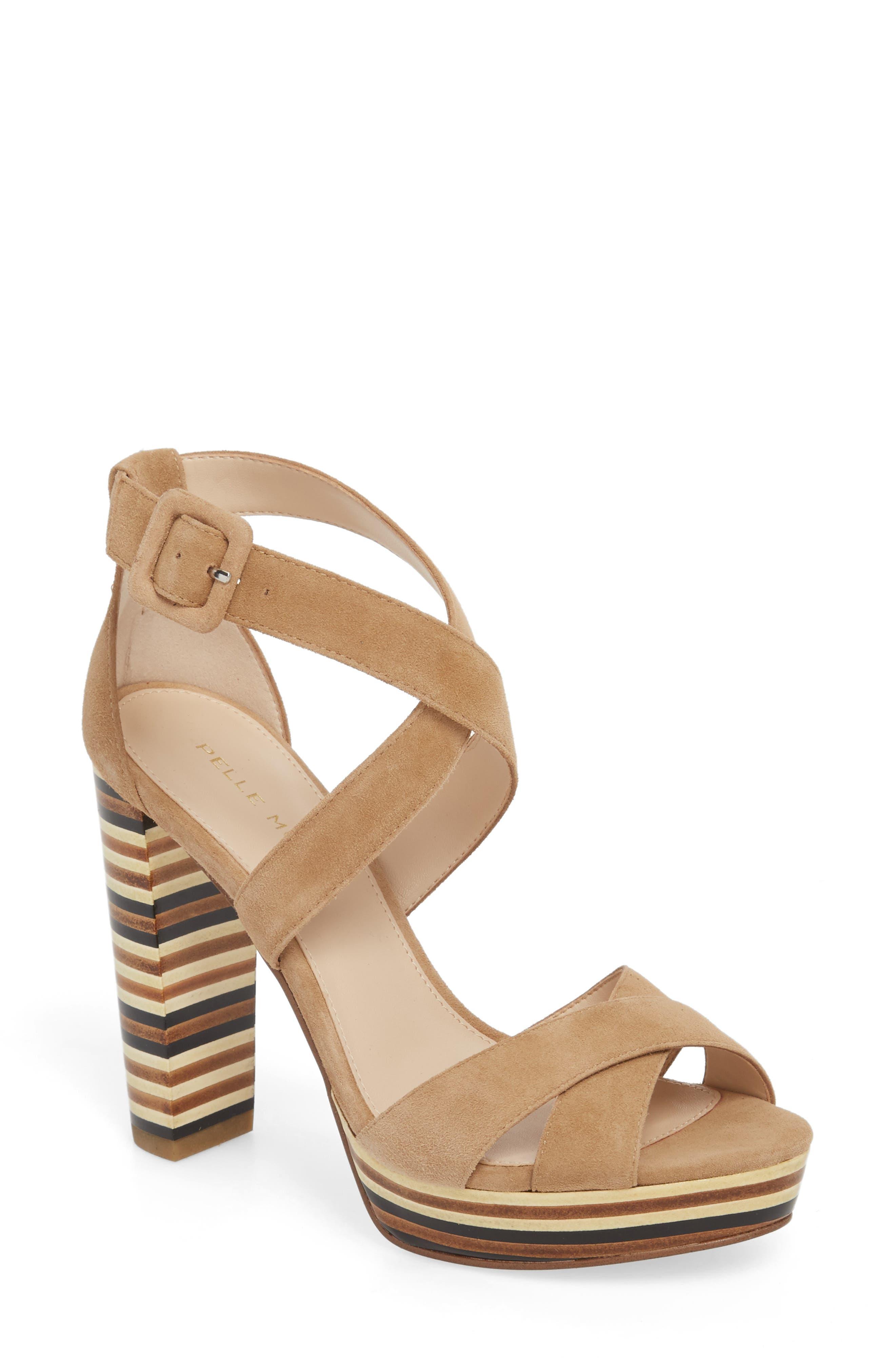 Panama Platform Sandal,                             Main thumbnail 1, color,                             LATTE SUEDE