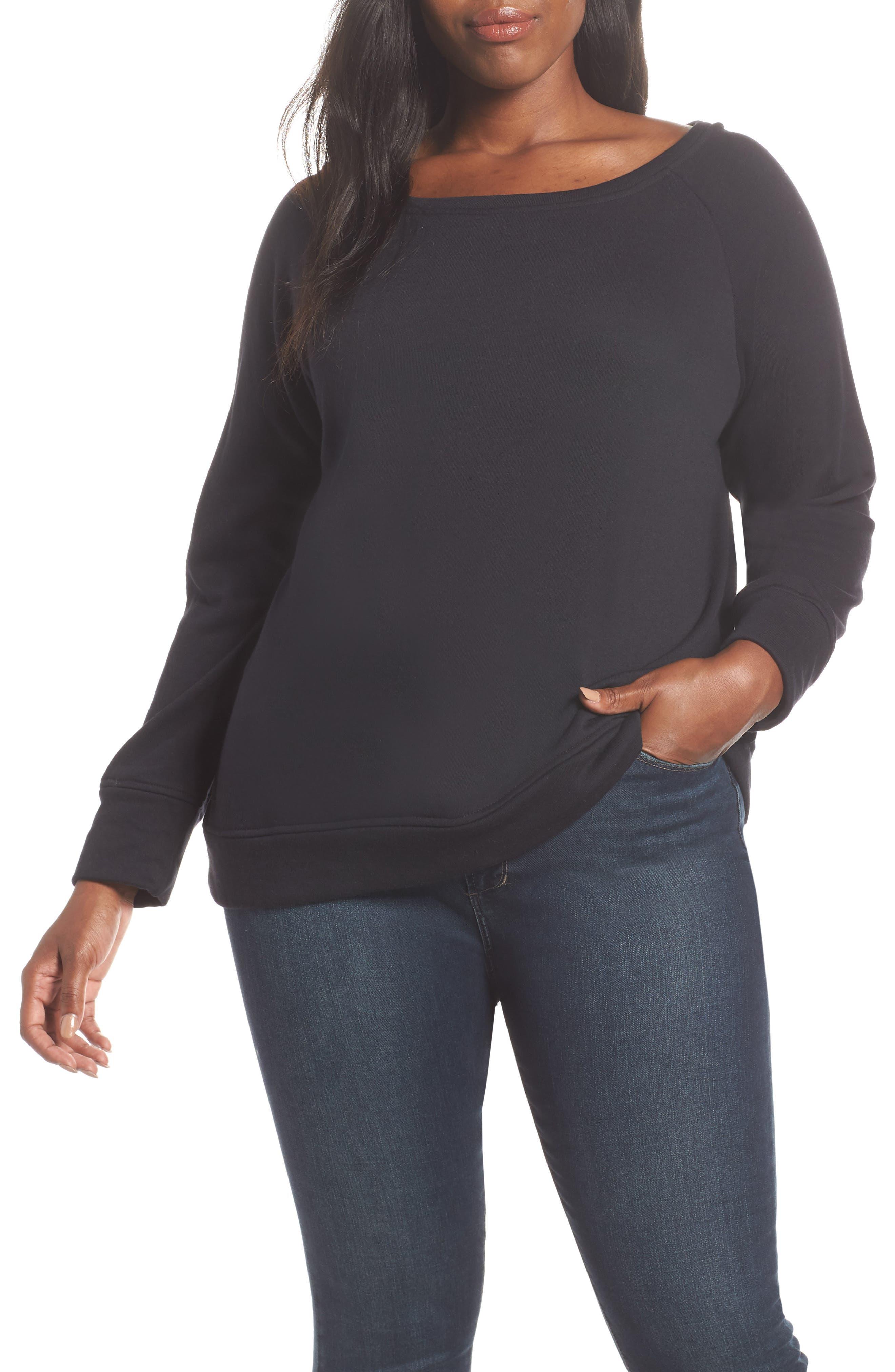 Slouch Sweatshirt,                             Alternate thumbnail 7, color,                             BLACK