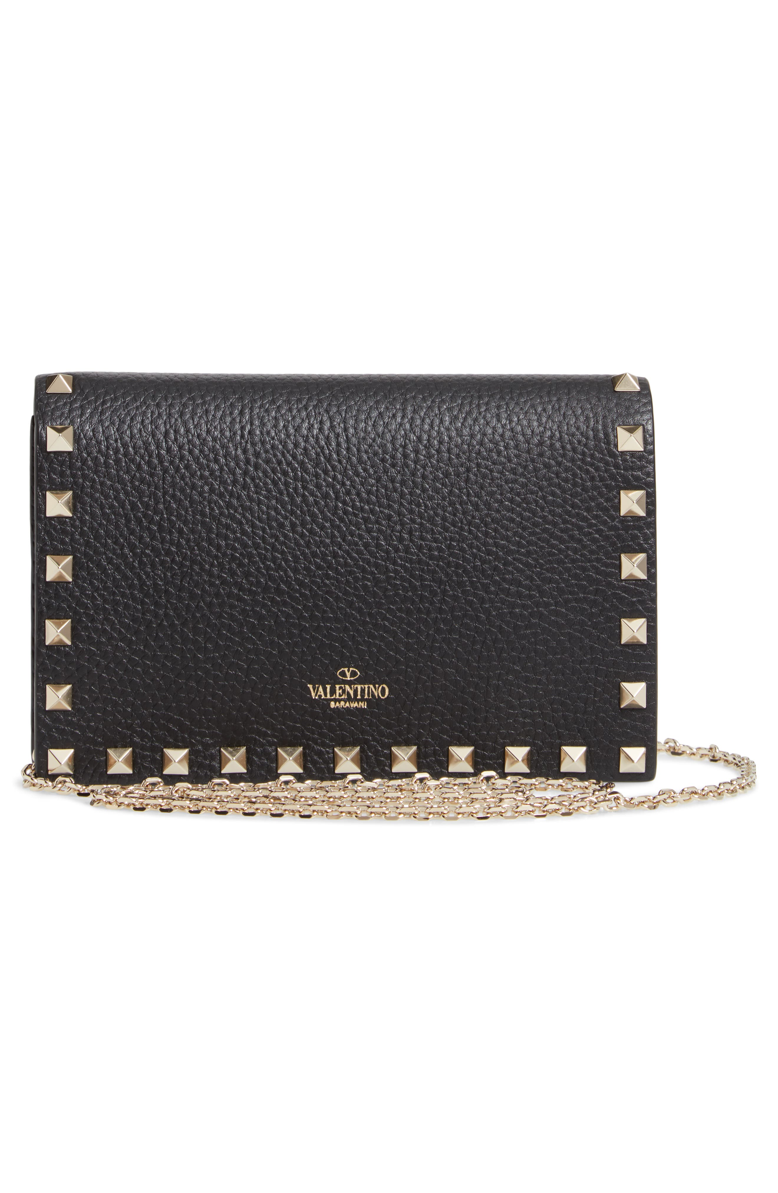 VALENTINO GARAVANI,                             Rockstud Calfskin Leather Envelope Pouch,                             Alternate thumbnail 3, color,                             NERO