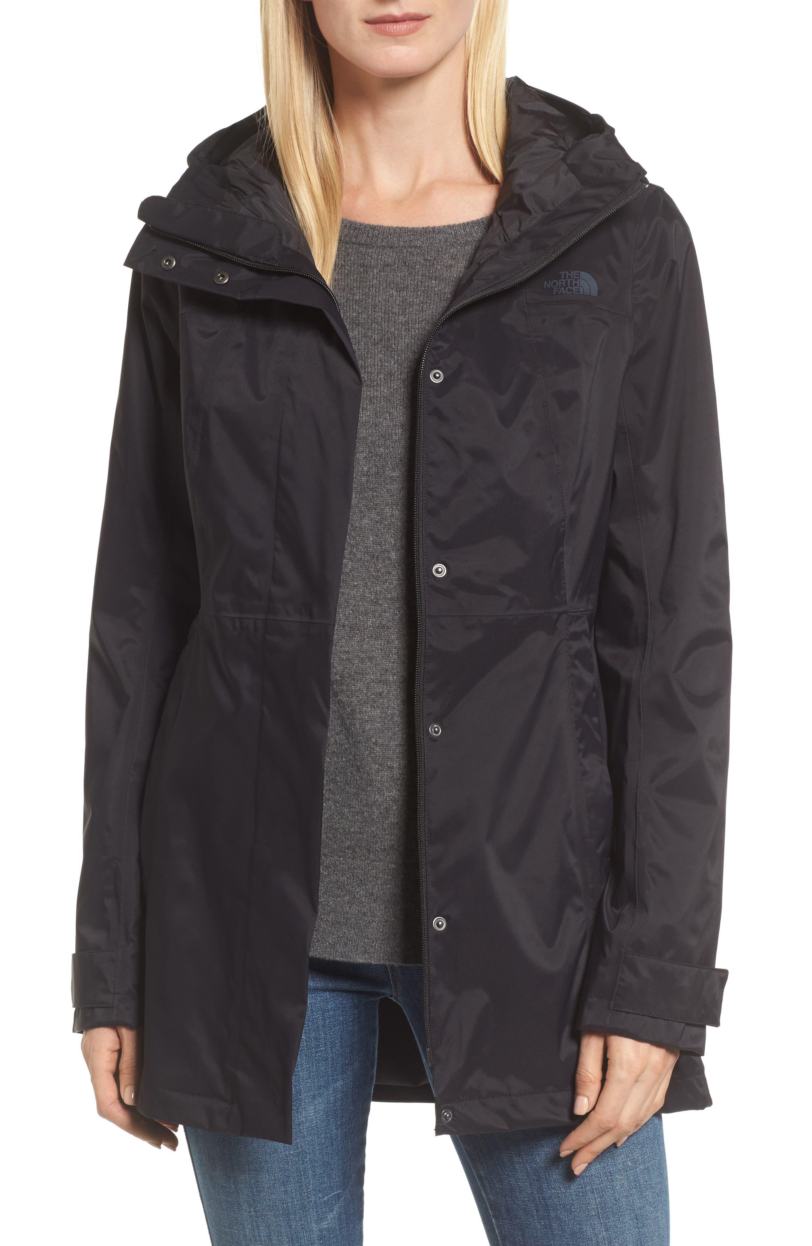 City Midi Trench Coat,                             Main thumbnail 1, color,                             TNF BLACK