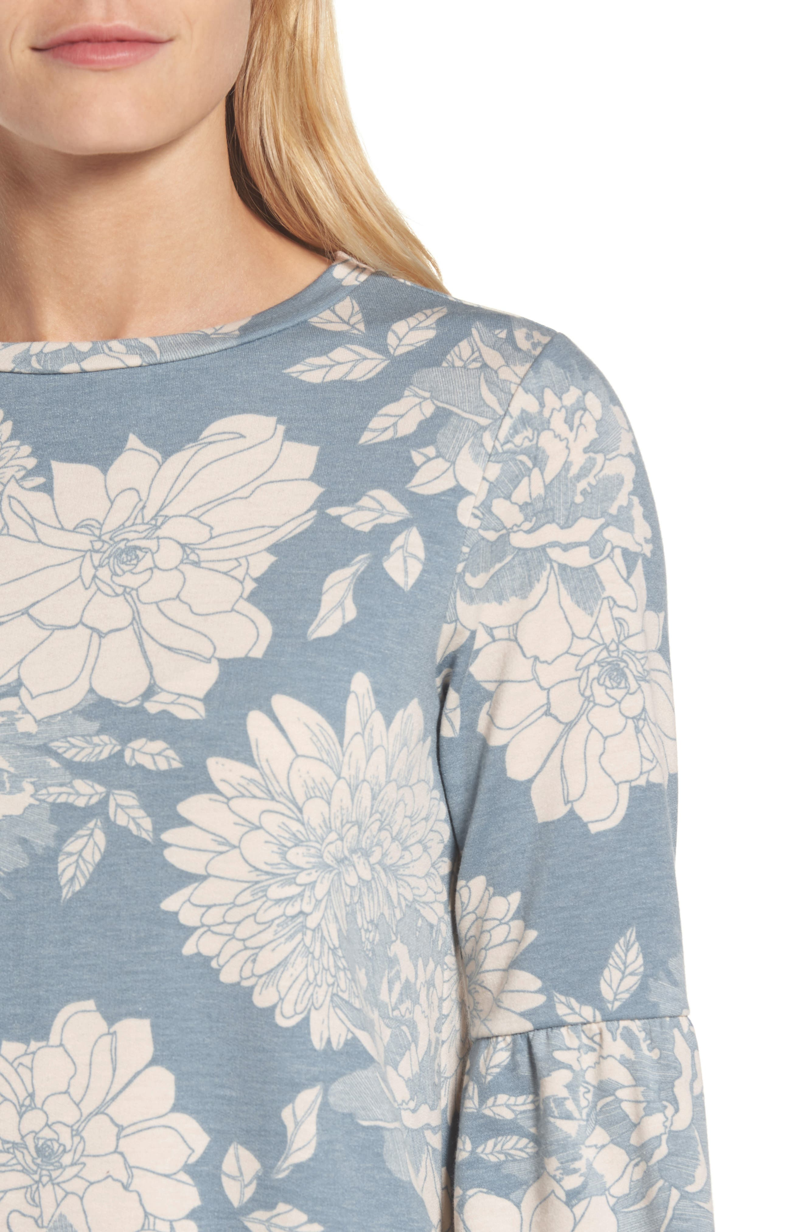Floral Print Balloon Sleeve Sweatshirt,                             Alternate thumbnail 16, color,