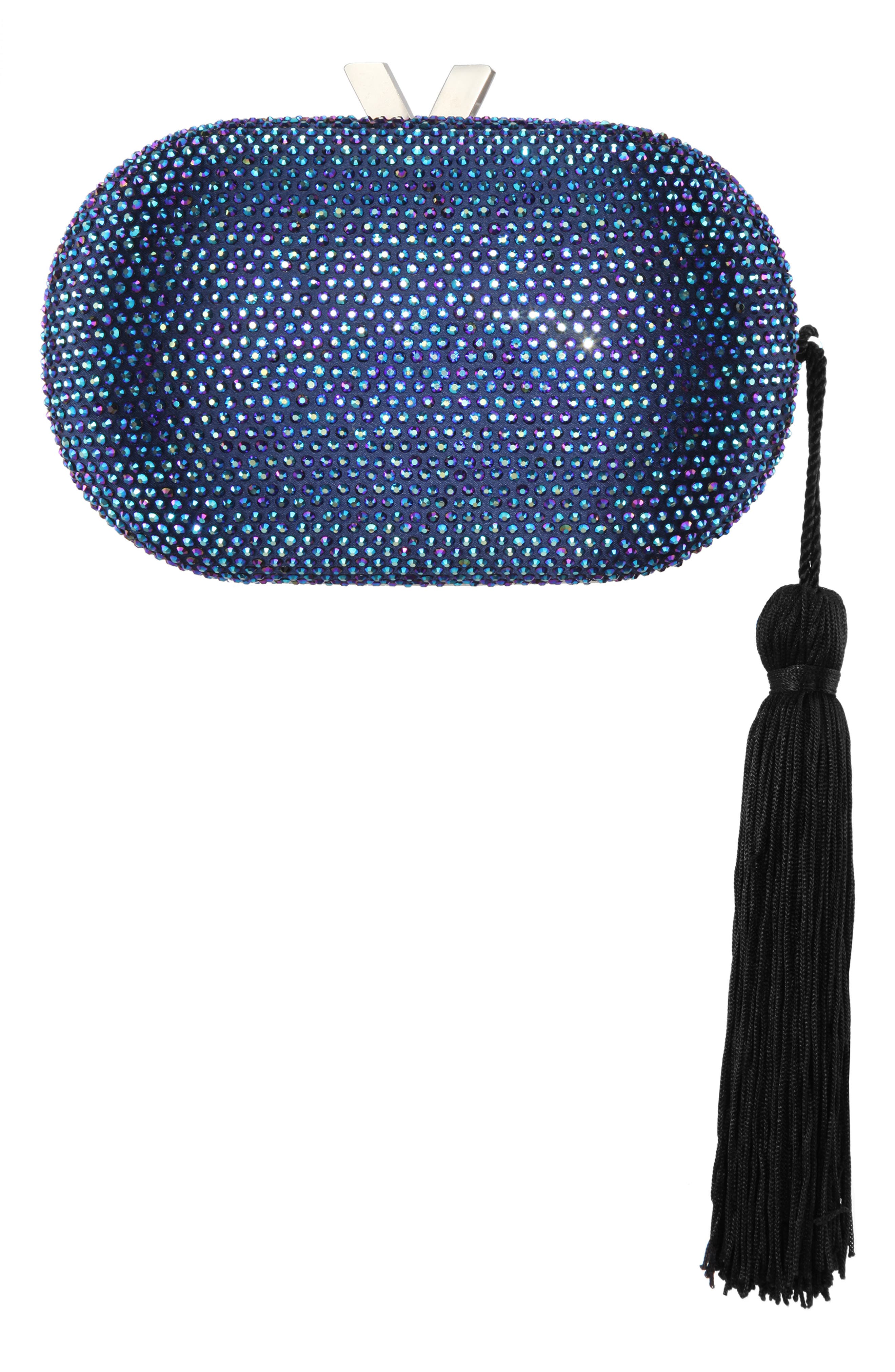 Oval Minaudiere With Tassel - Blue in Navy Iris
