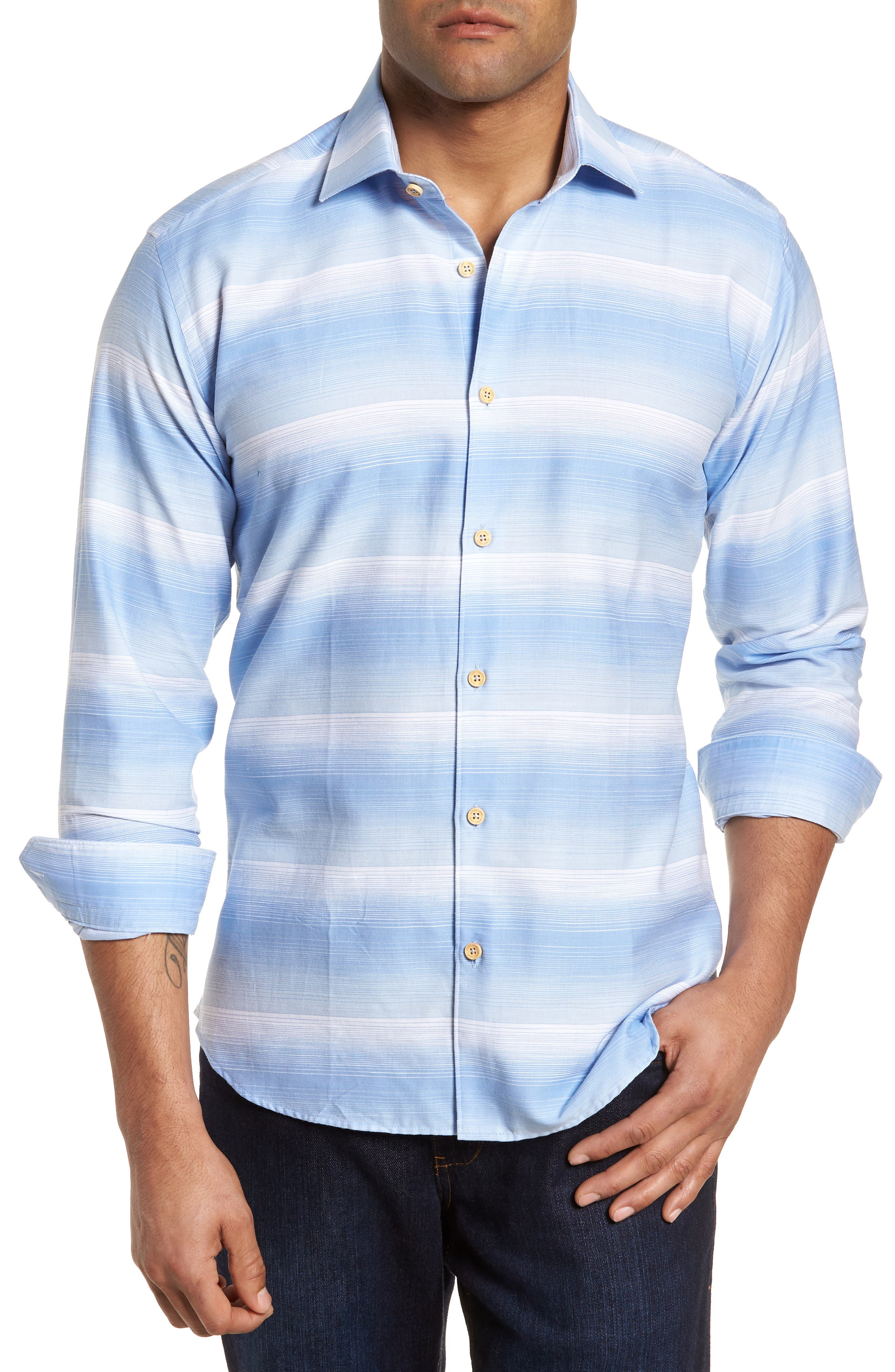 Slim Fit Stripe Sport Shirt,                         Main,                         color, 455