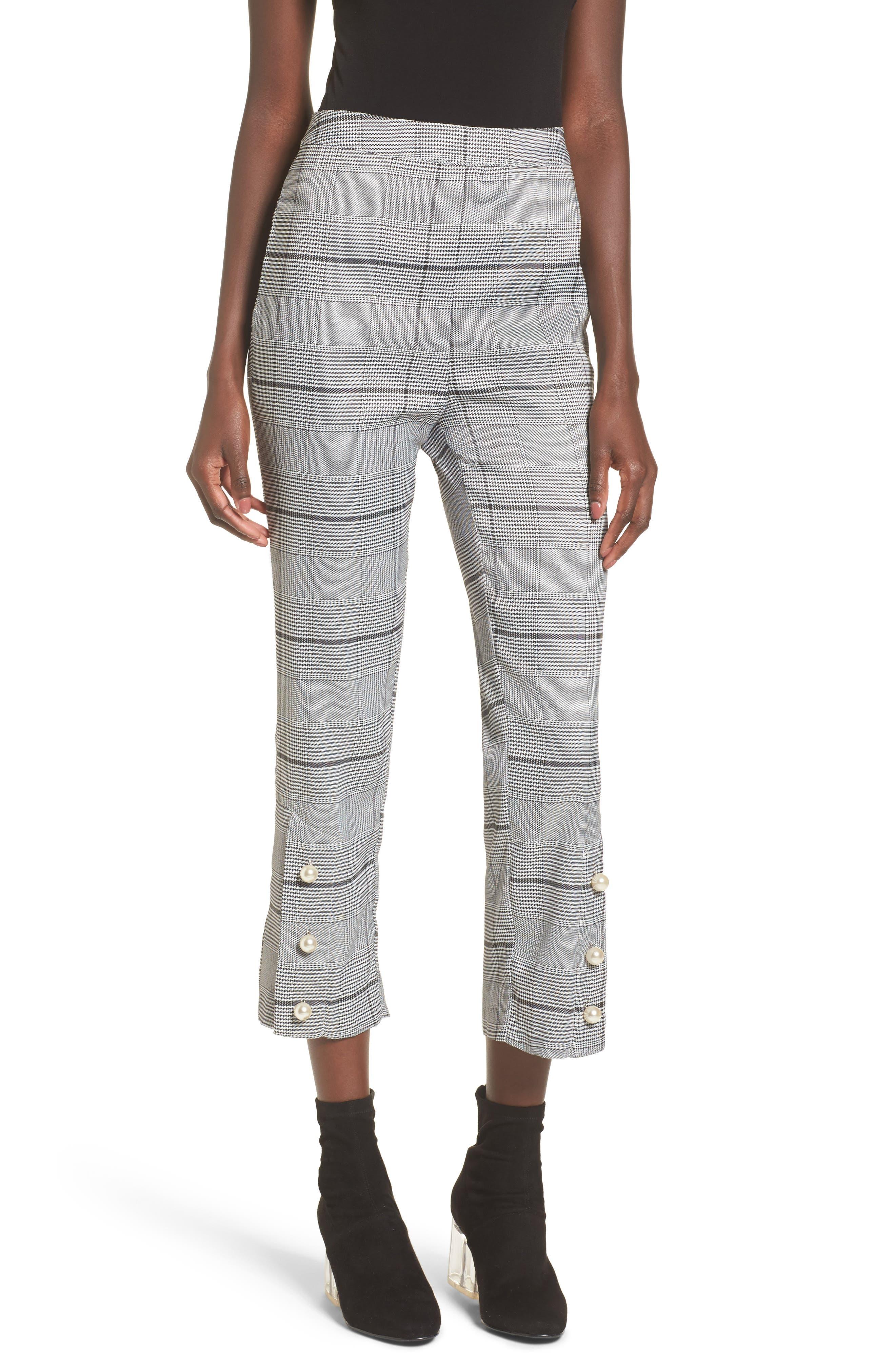 Crop Plaid Pants,                             Main thumbnail 1, color,