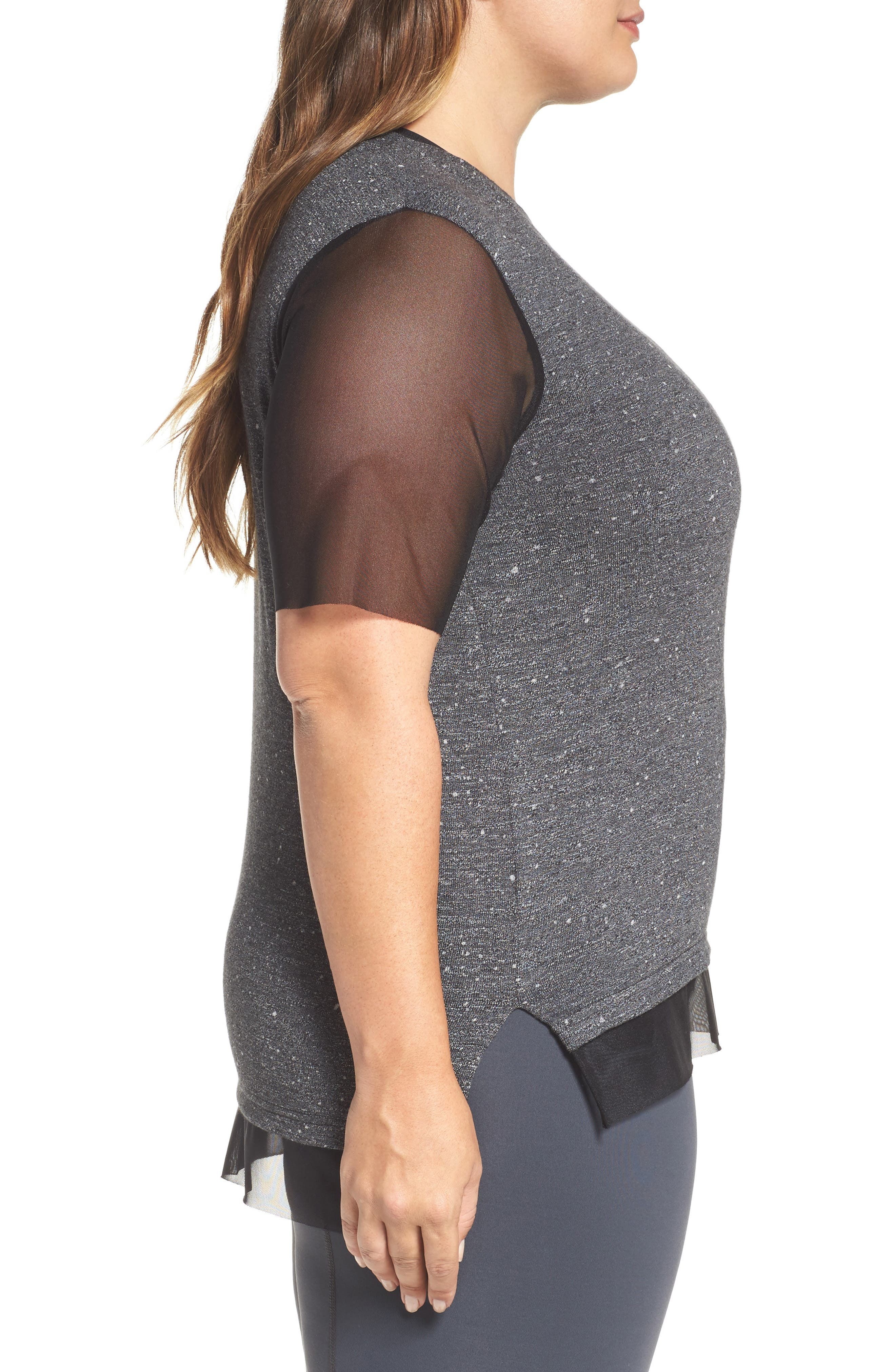 Lola Mesh Sleeve Tee,                             Alternate thumbnail 3, color,                             CHARCOAL
