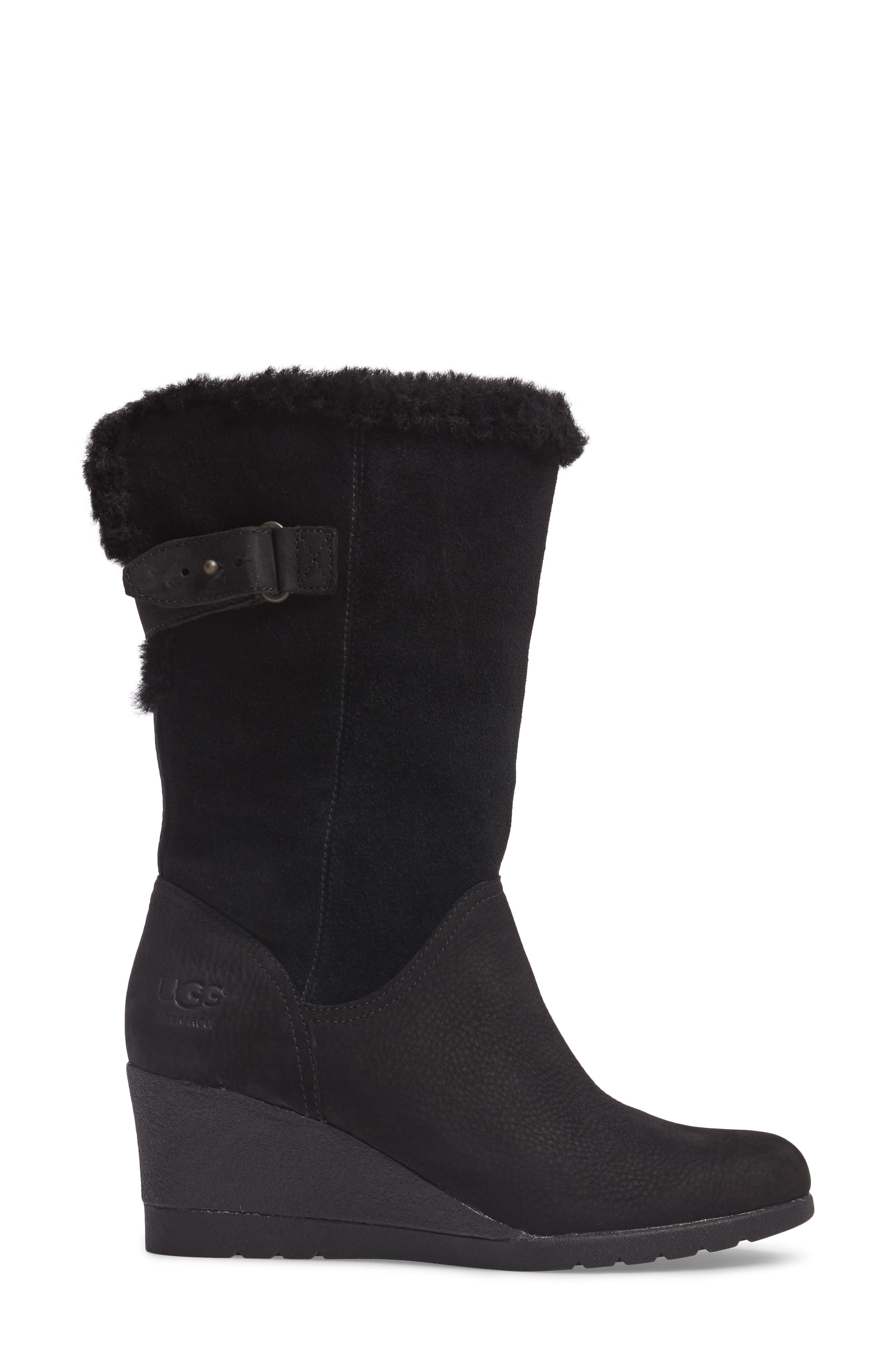 UGG<SUP>®</SUP>,                             Edelina Waterproof Wedge Boot,                             Alternate thumbnail 3, color,                             001