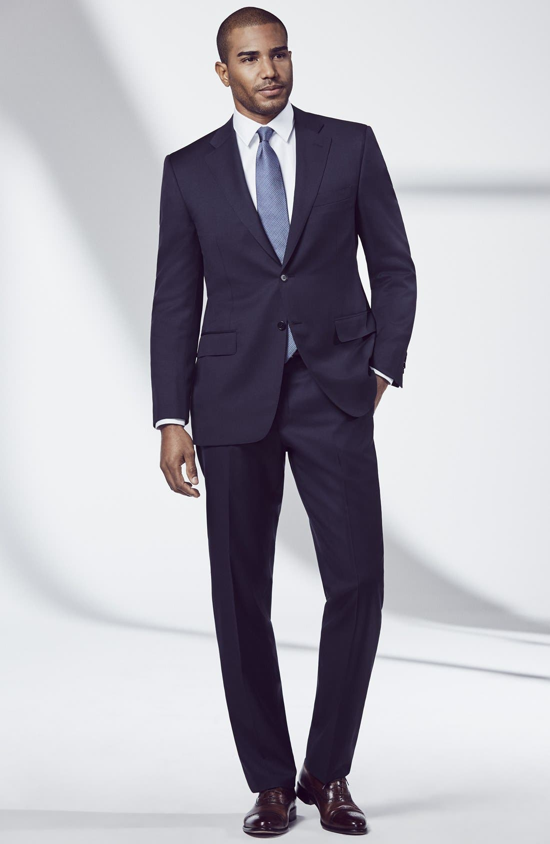 Classic Fit Solid Wool Suit,                             Alternate thumbnail 9, color,                             NAVY