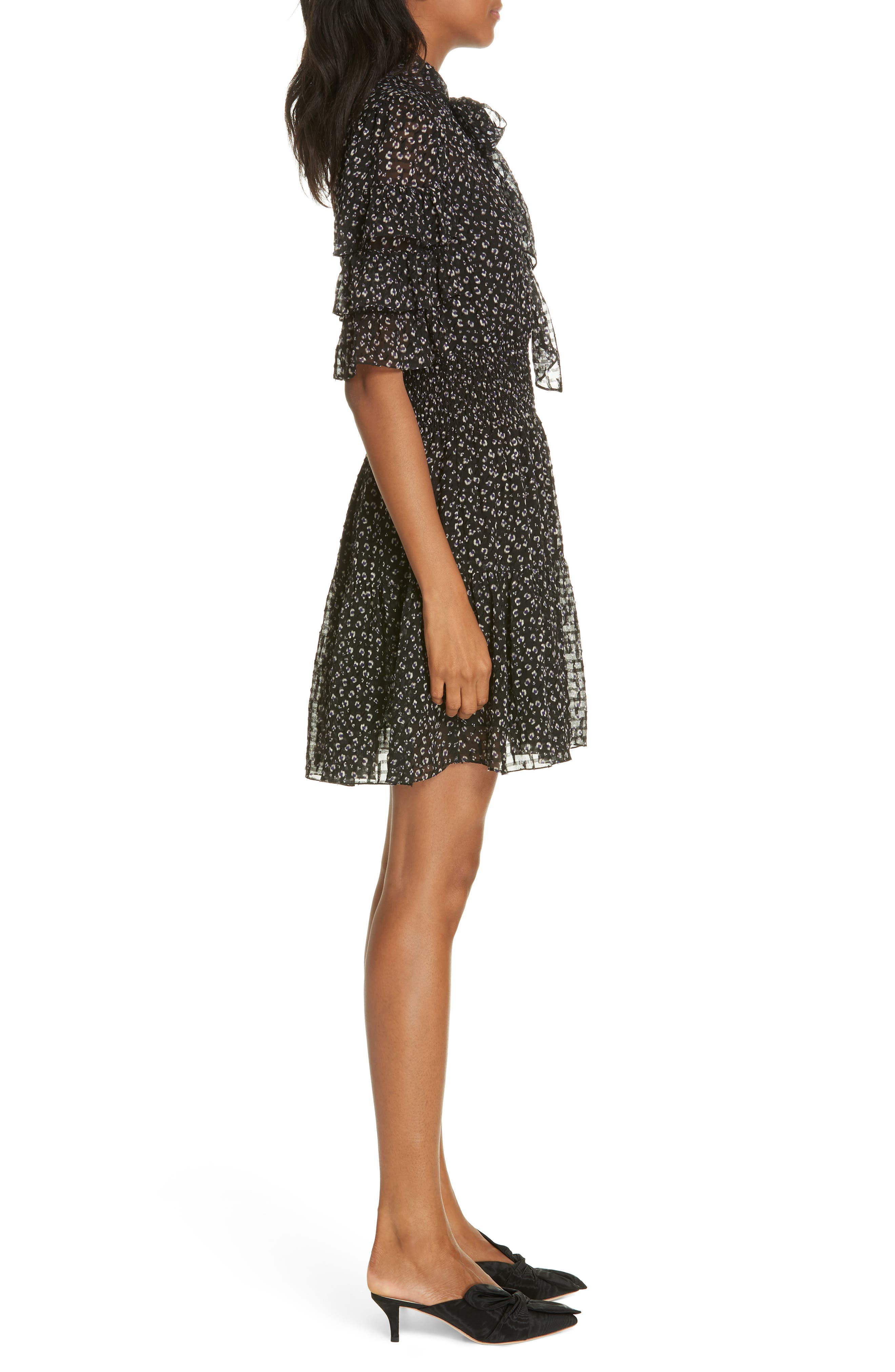 Cheetah Print Silk Blend Dress,                             Alternate thumbnail 3, color,                             BLACK COMBO