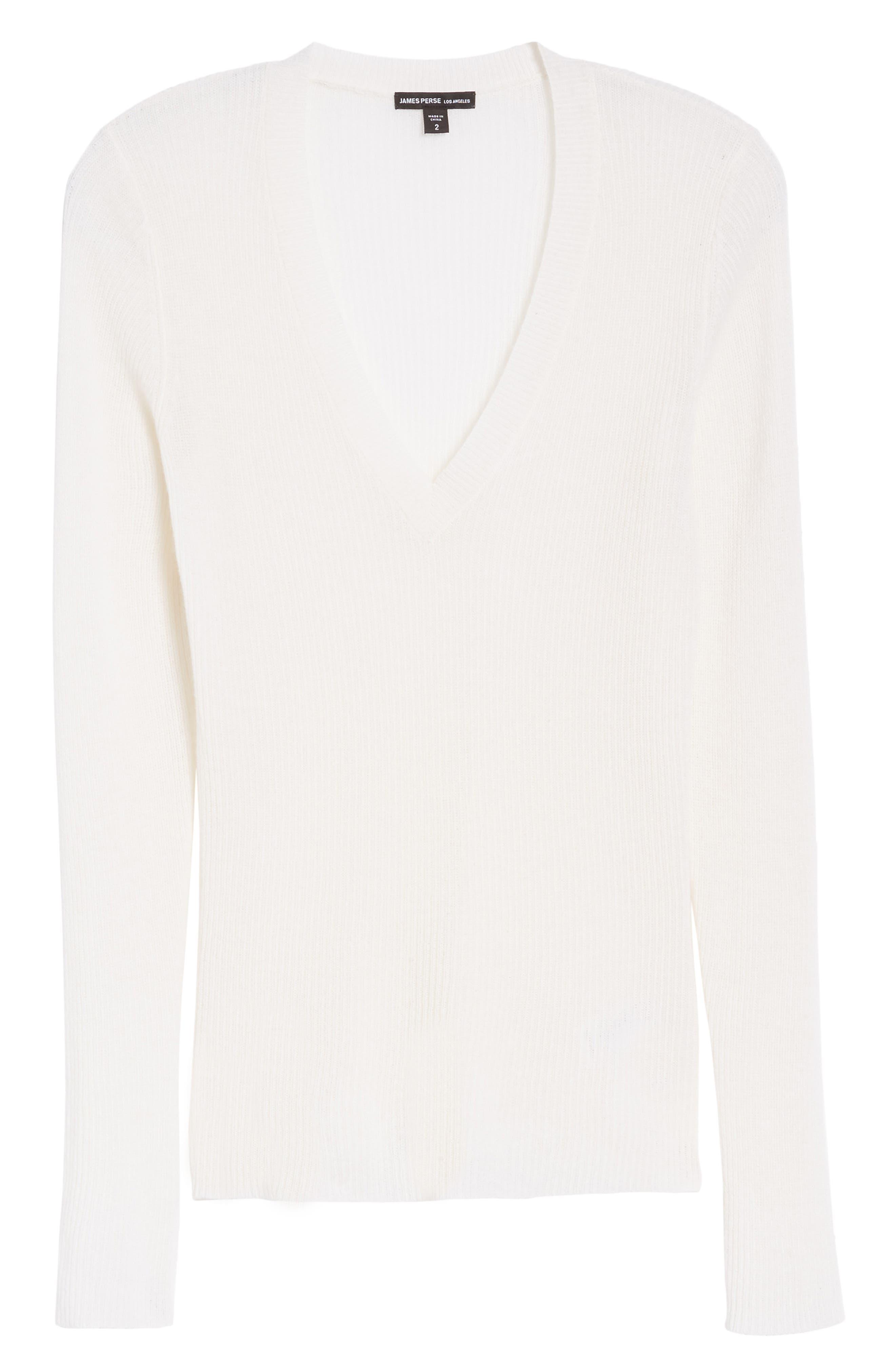 Cashmere V-Neck Sweater,                             Alternate thumbnail 6, color,                             100