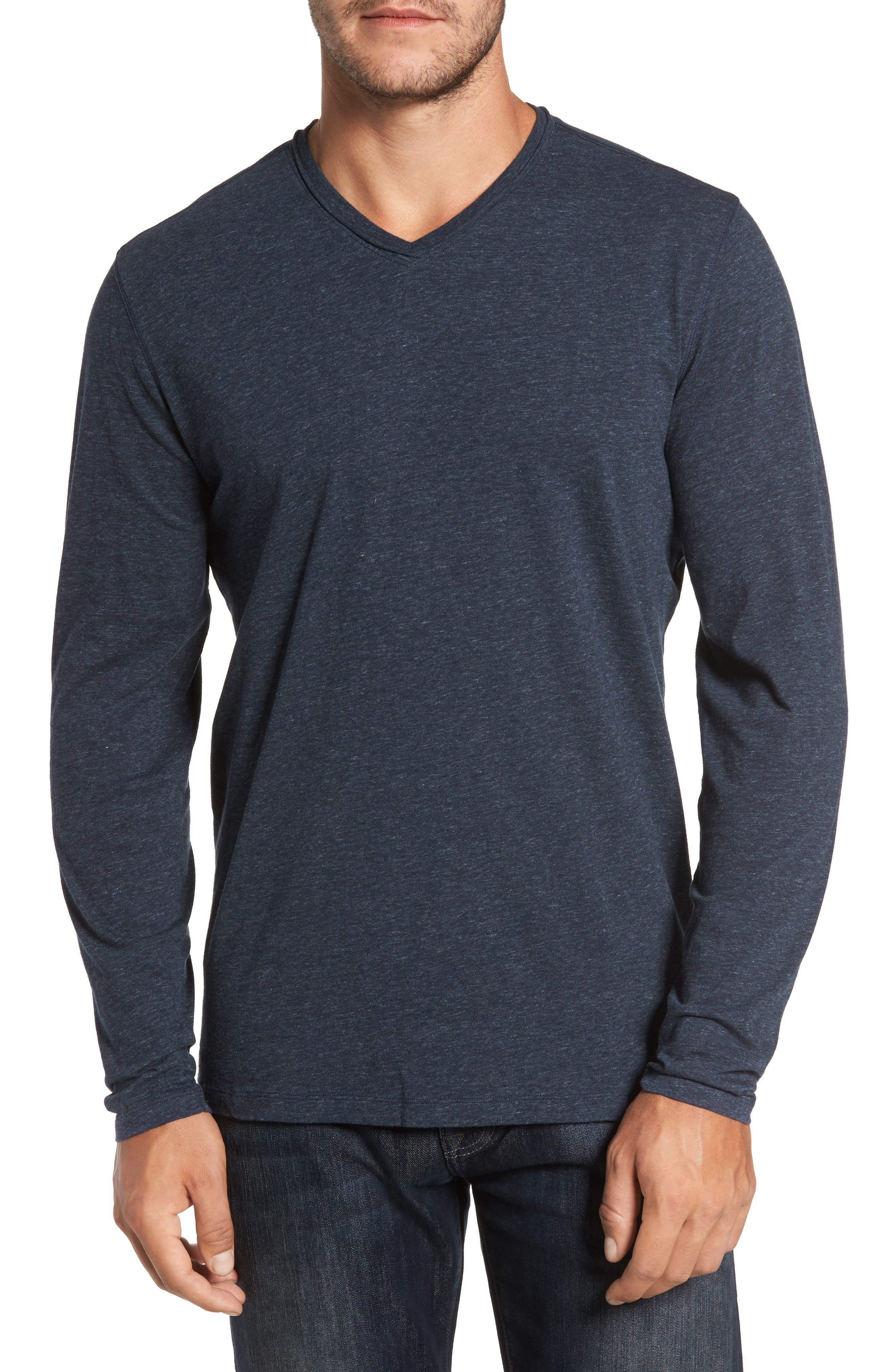 Flynn V-Neck T-Shirt,                         Main,                         color, NAVY