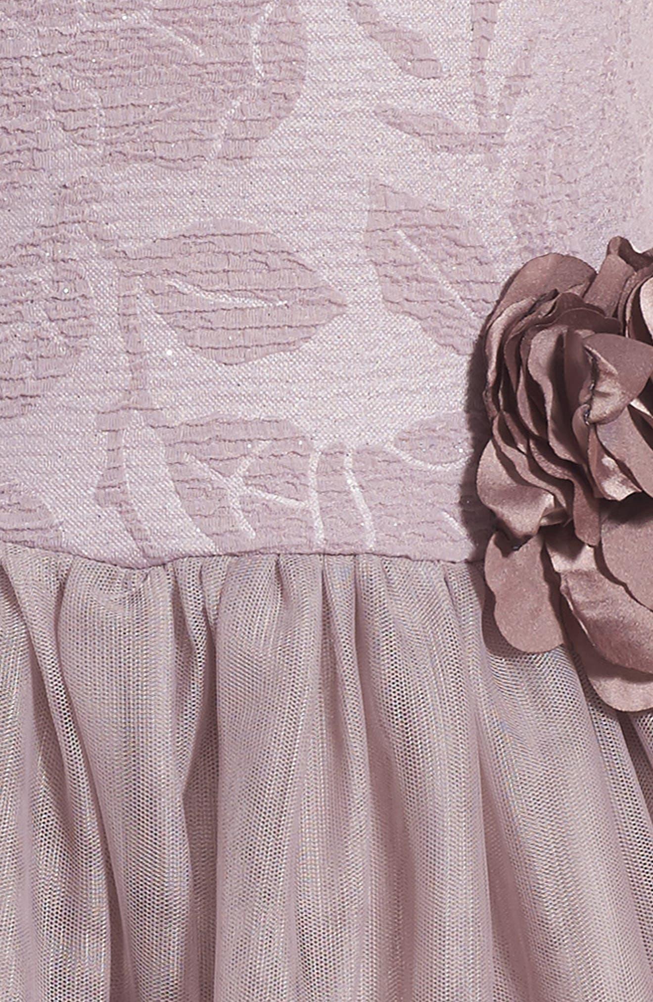 Embossed Rose Tutu Dress,                             Alternate thumbnail 3, color,                             690