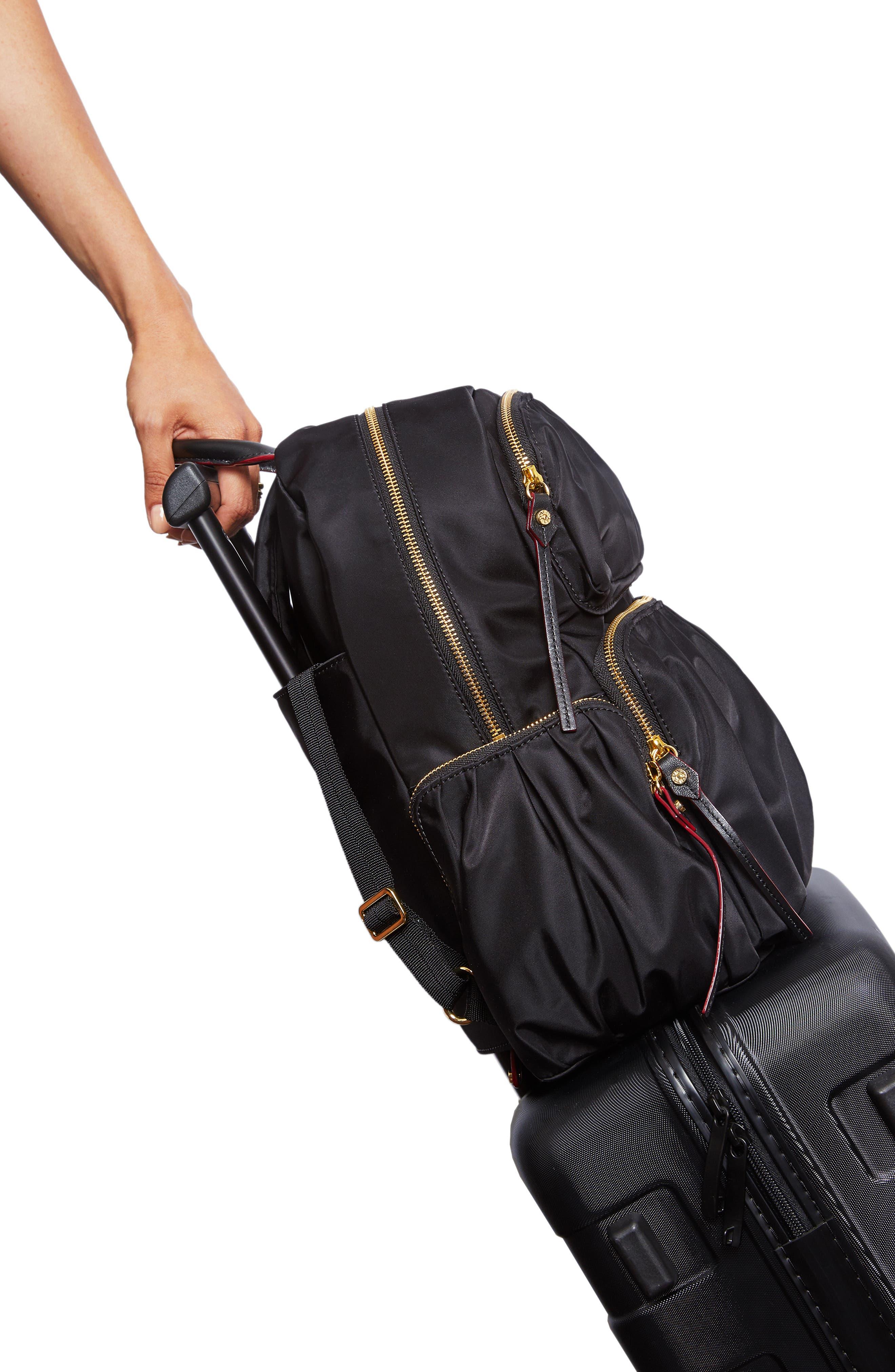 Madelyn Bedford Nylon Backpack,                             Alternate thumbnail 6, color,                             BLACK
