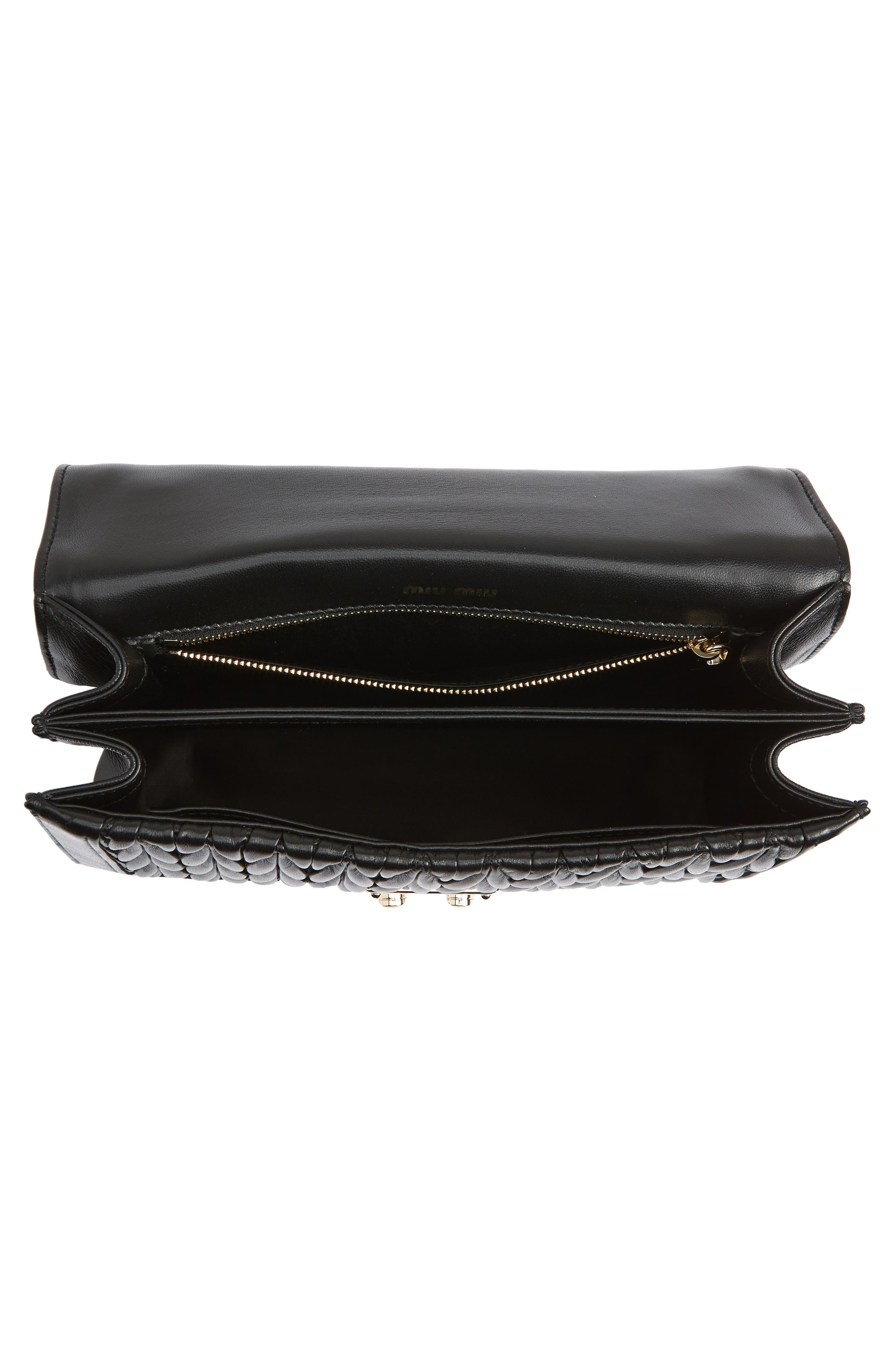 Confidential Matelassé Quilted Lambskin Leather Top Handle Bag,                             Alternate thumbnail 4, color,                             NERO