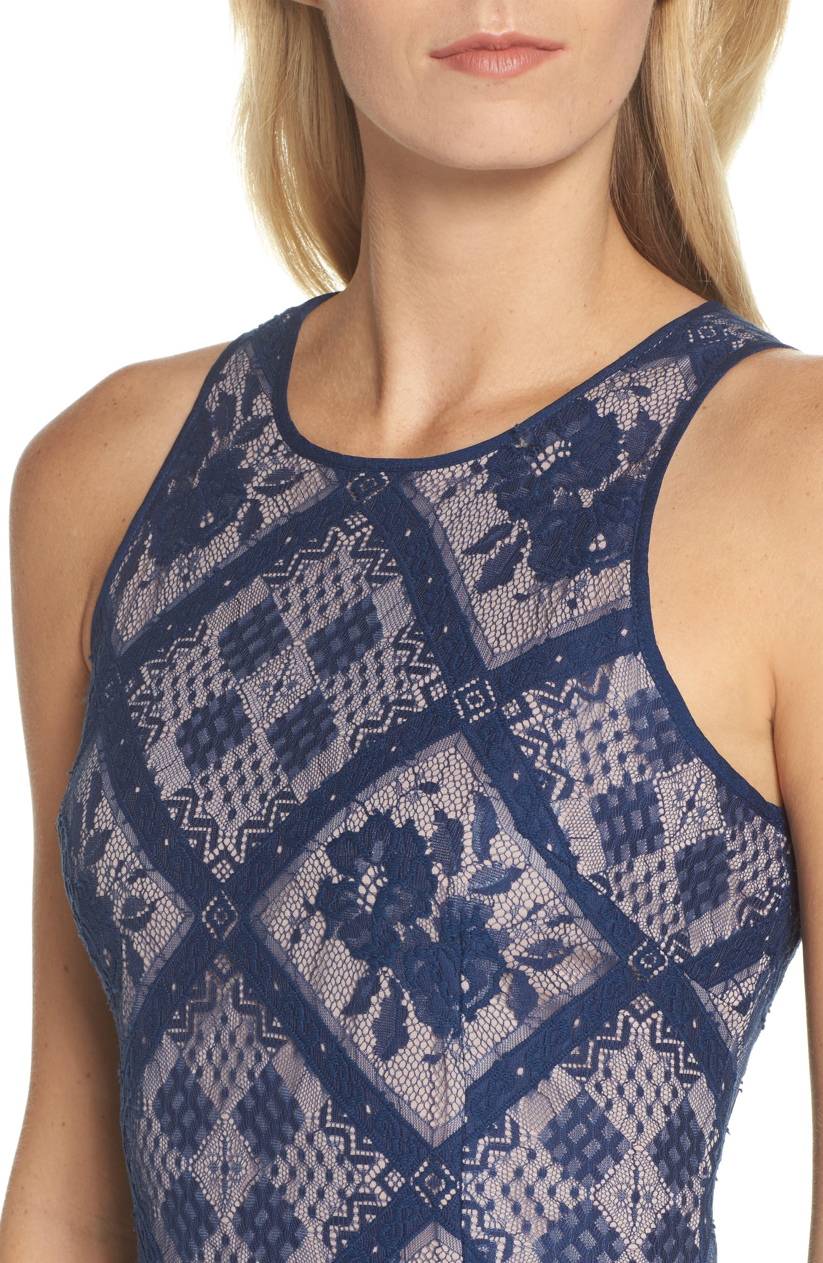 Floral Lace Sheath Dress,                             Alternate thumbnail 4, color,                             412