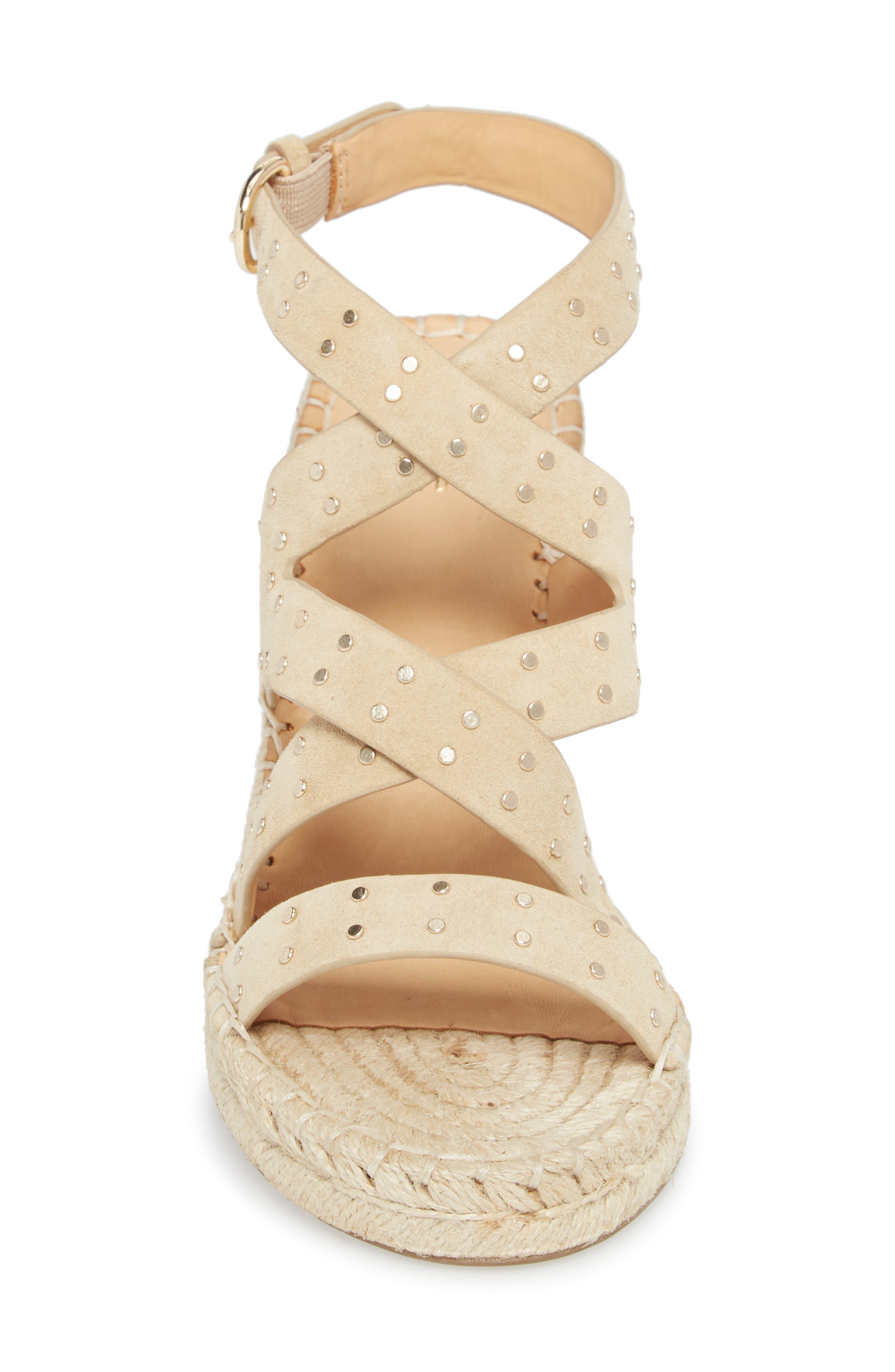 Korat Studded Wedge Espadrille Sandal,                             Alternate thumbnail 4, color,                             SAND