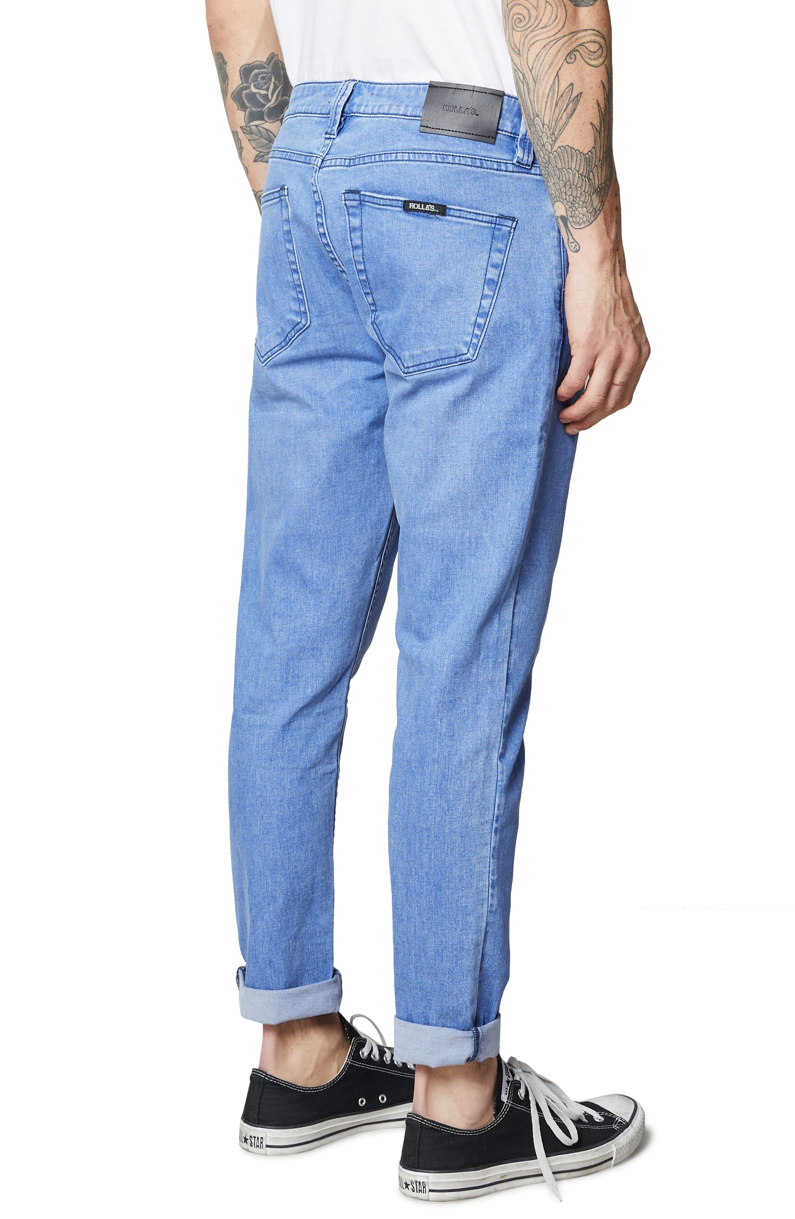 Rollies Slim Fit Jeans,                             Alternate thumbnail 7, color,                             BOLD BLUE