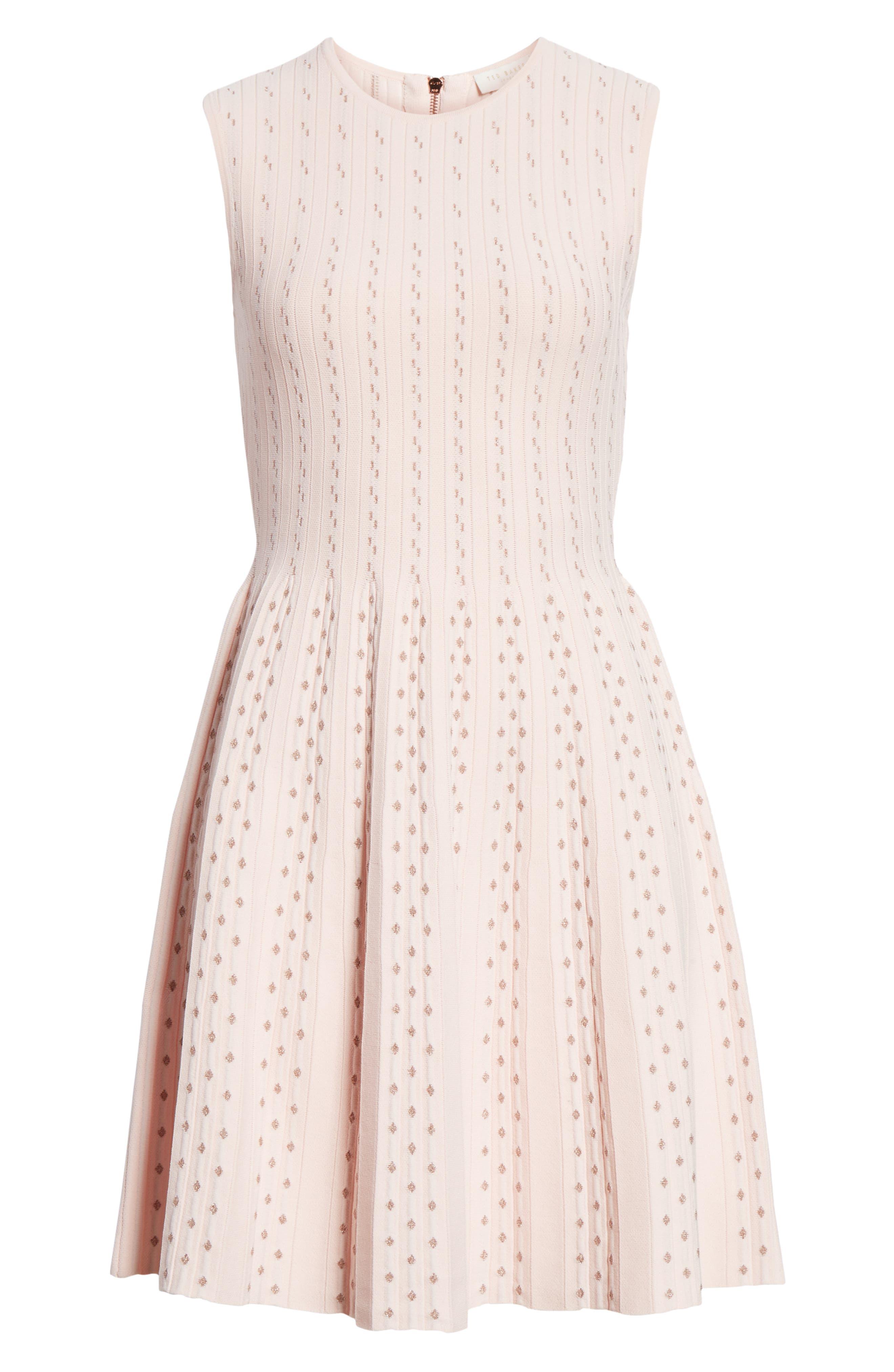 Vellia Flippy Knit Skater Dress,                             Alternate thumbnail 7, color,                             PALE PINK