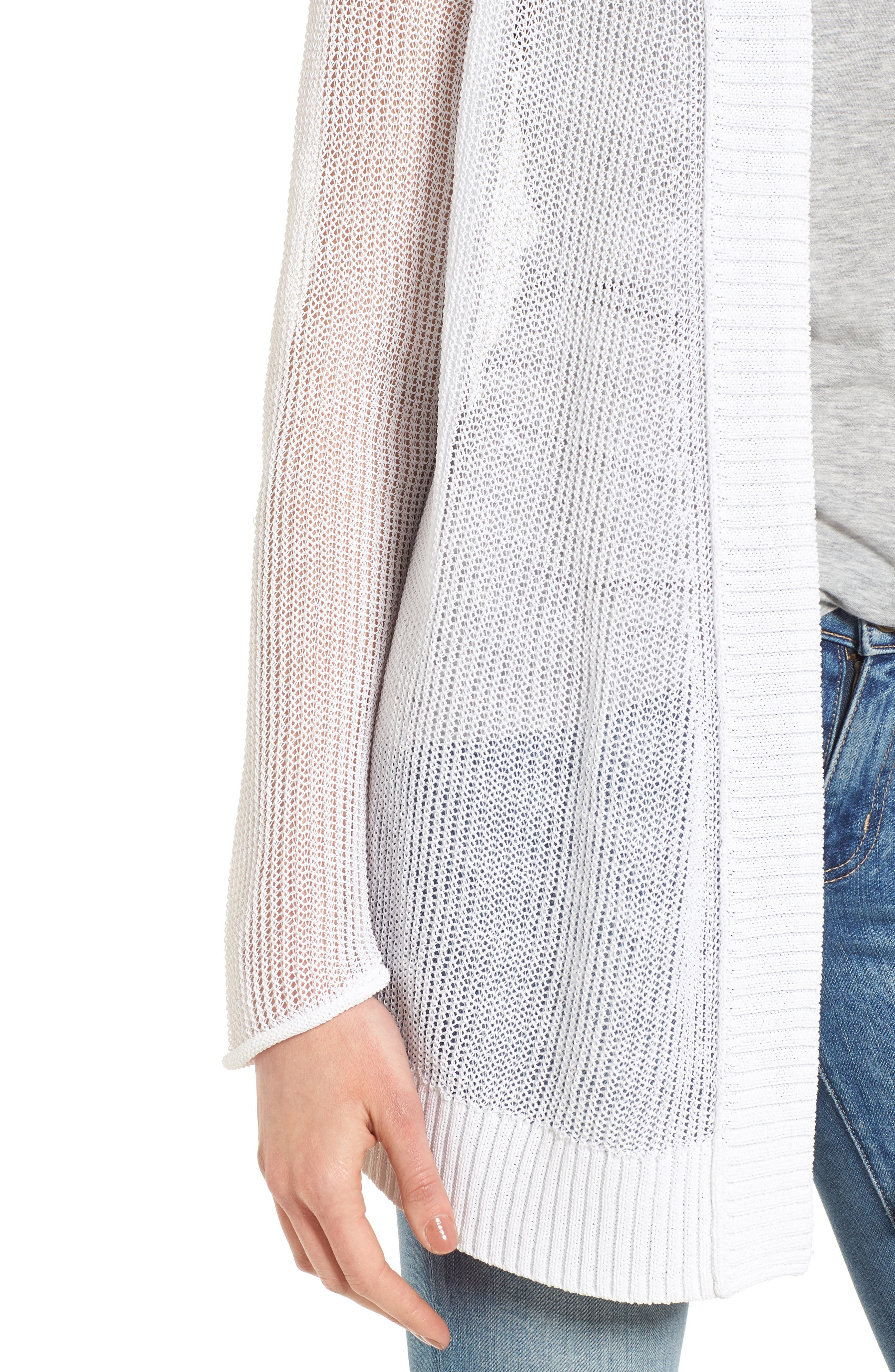 Open Cotton Blend Cardigan,                             Alternate thumbnail 4, color,                             100