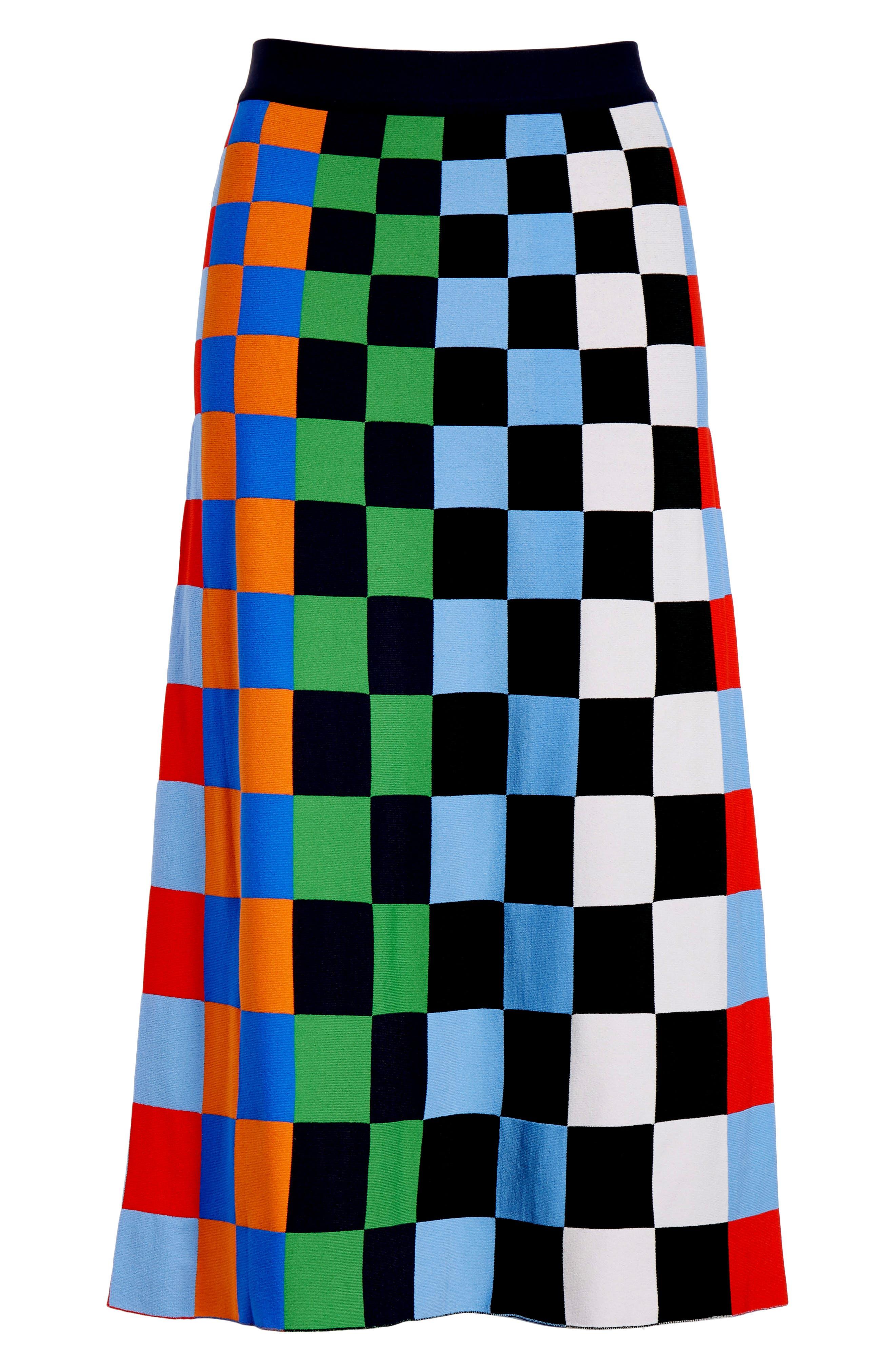Check Tech Knit Skirt,                             Alternate thumbnail 6, color,                             CHECK STRIPE ALLOVER MULTI