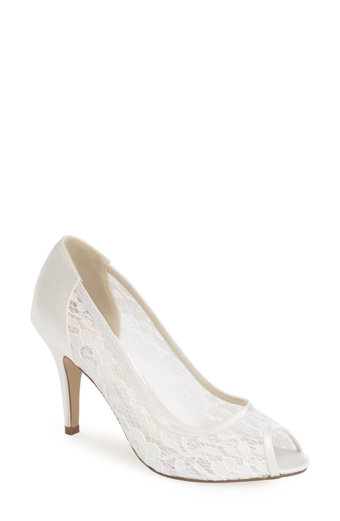 'Scrumptious' Lace Peep Toe Sandal,                         Main,                         color, IVORY MESH LACE