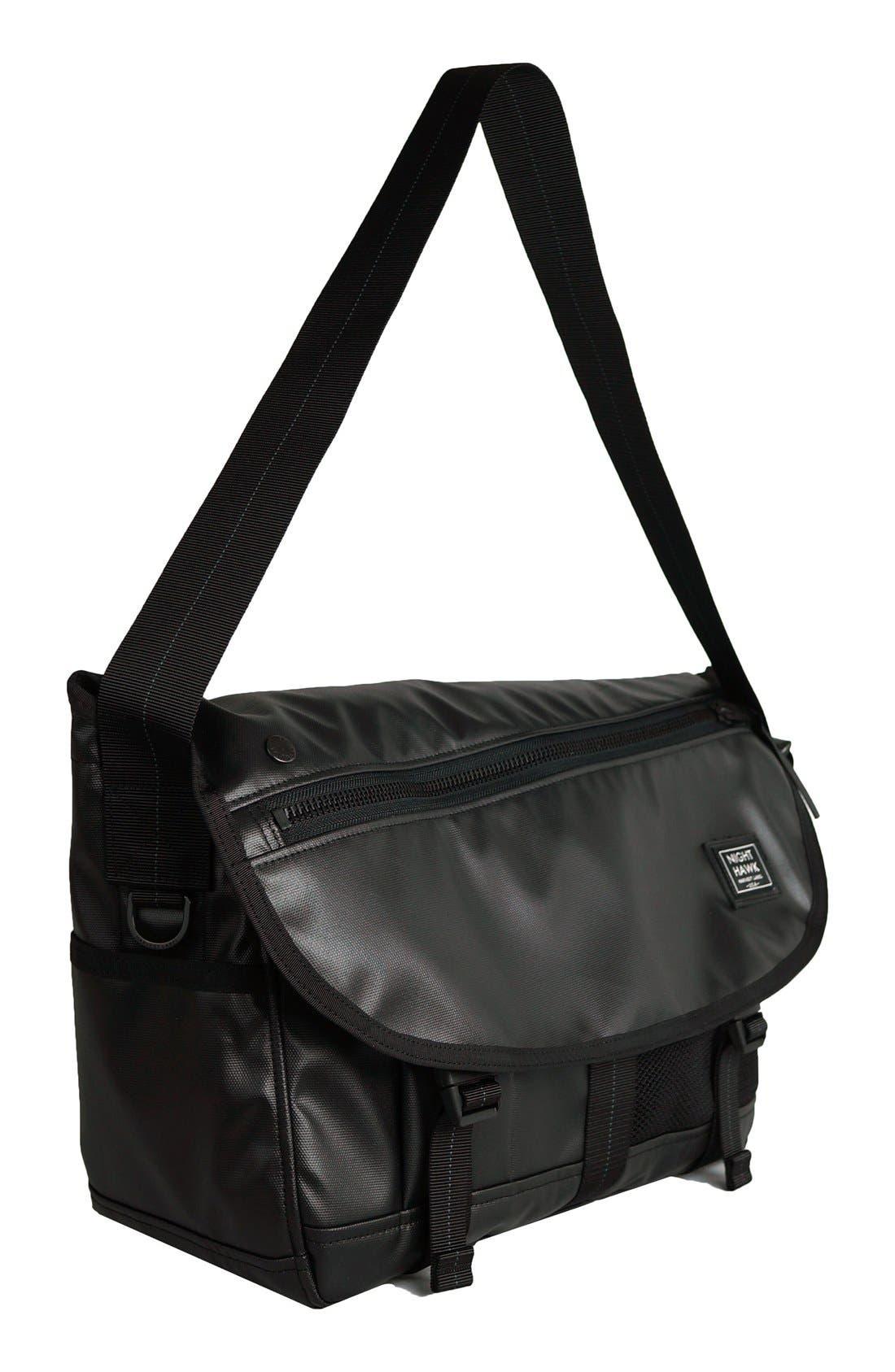 'NightHawk' Messenger Bag,                             Alternate thumbnail 6, color,                             BLACK