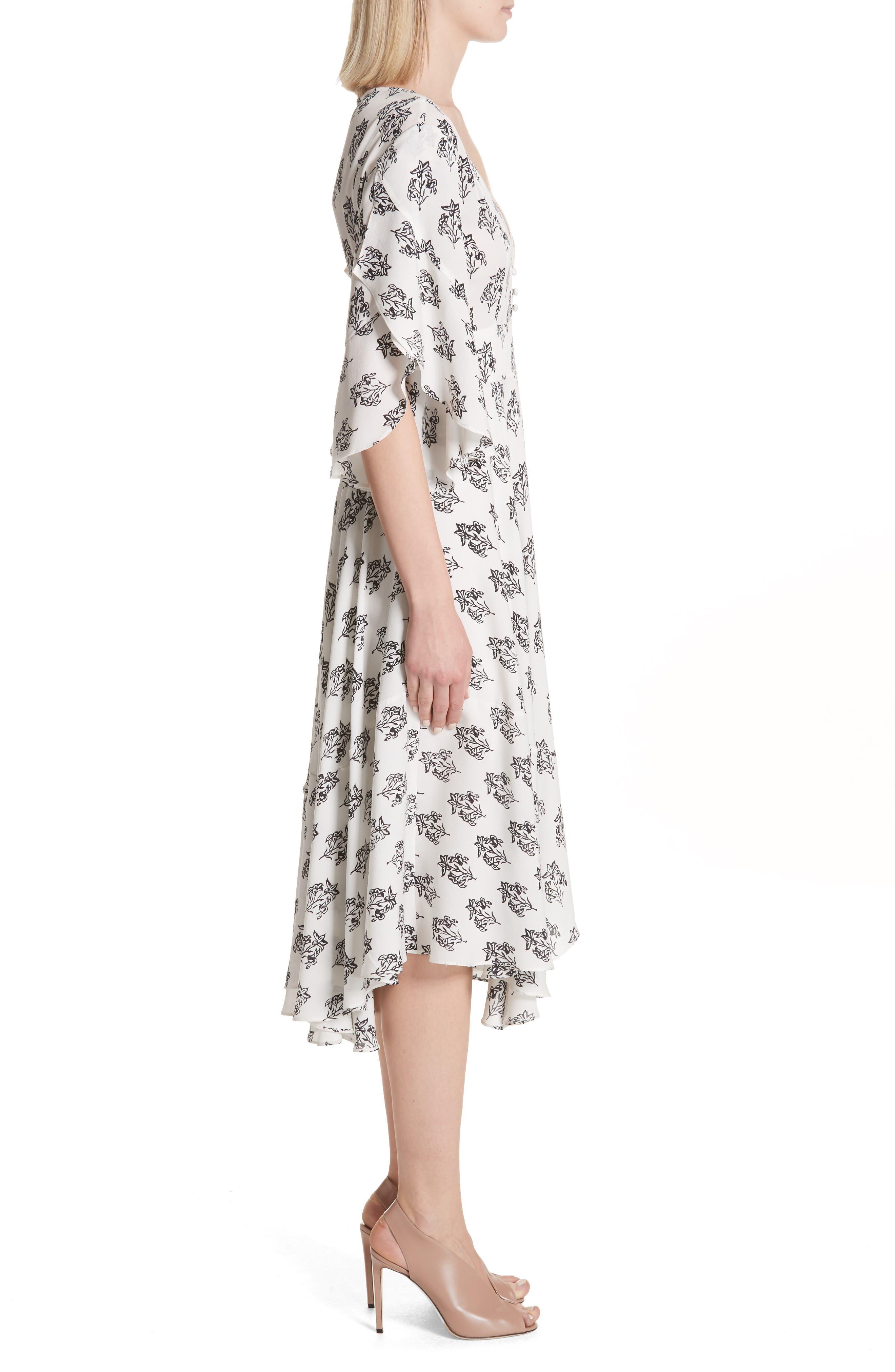 McKenna Print Asymmetrical Silk Dress,                             Alternate thumbnail 3, color,                             110