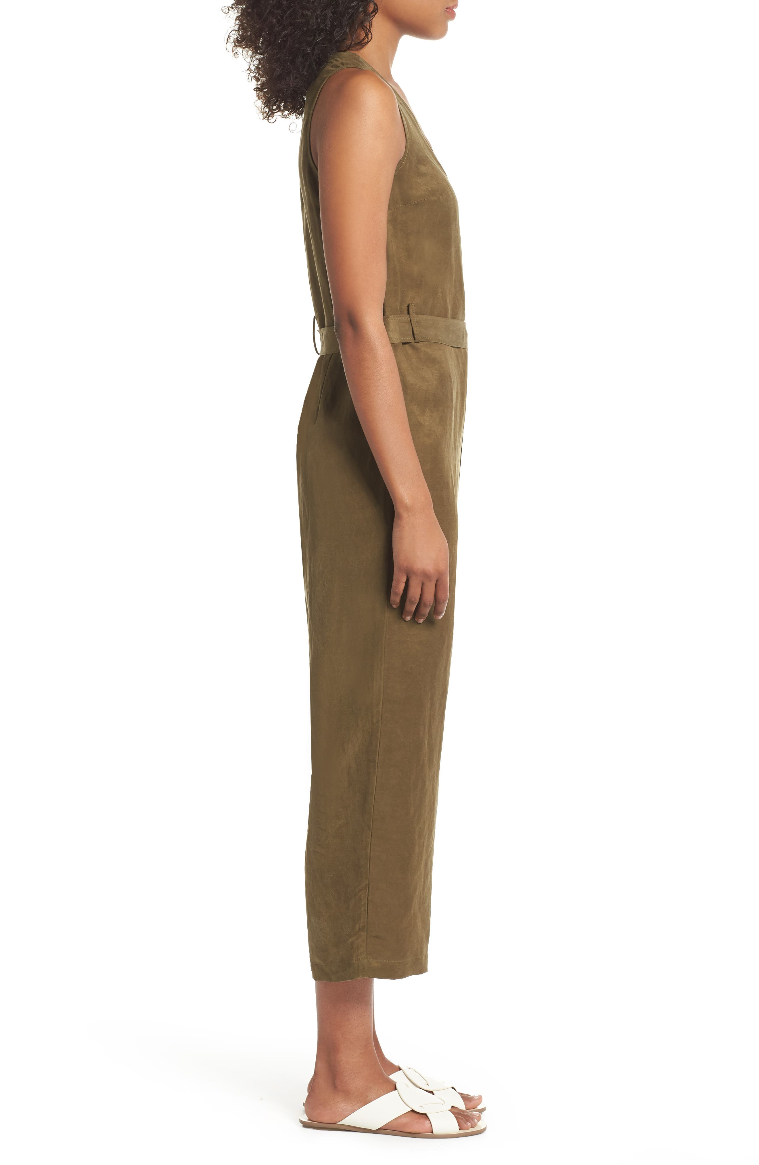 Sleeveless V-Neck Jumpsuit,                             Alternate thumbnail 3, color,                             300