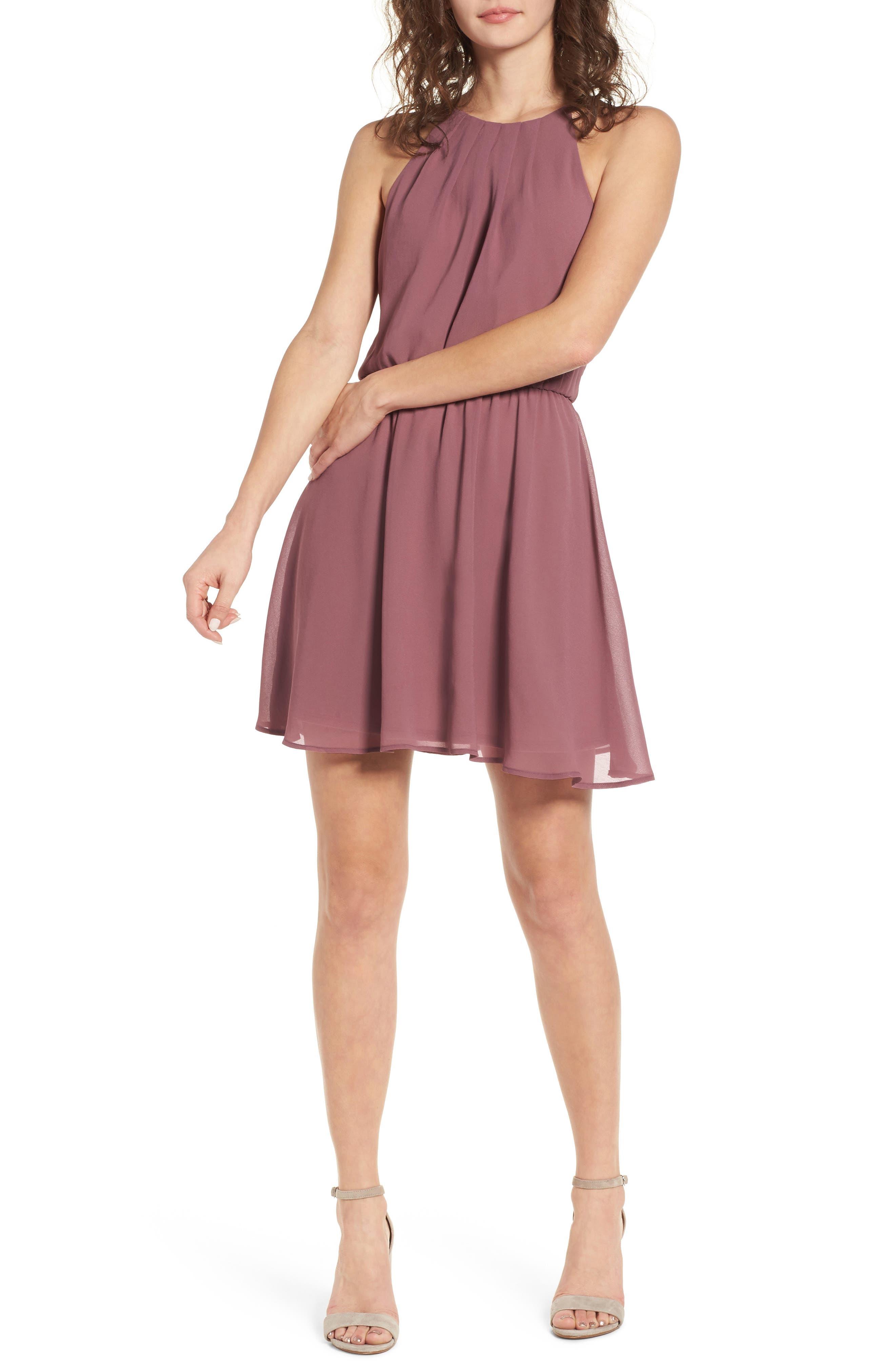 Blouson Chiffon Skater Dress,                             Main thumbnail 8, color,